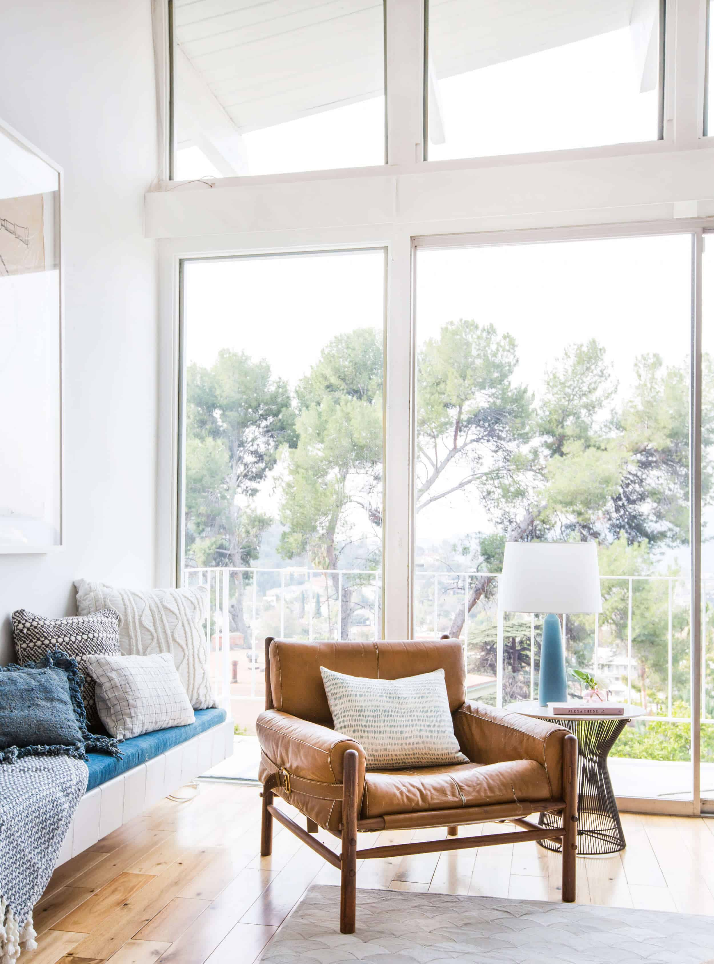 Emily Henderson_Living Room_Staged To Sell_Boho_Mid Century_Eclectic_Blue_White_Styled_Couch_Sectional_Staged1