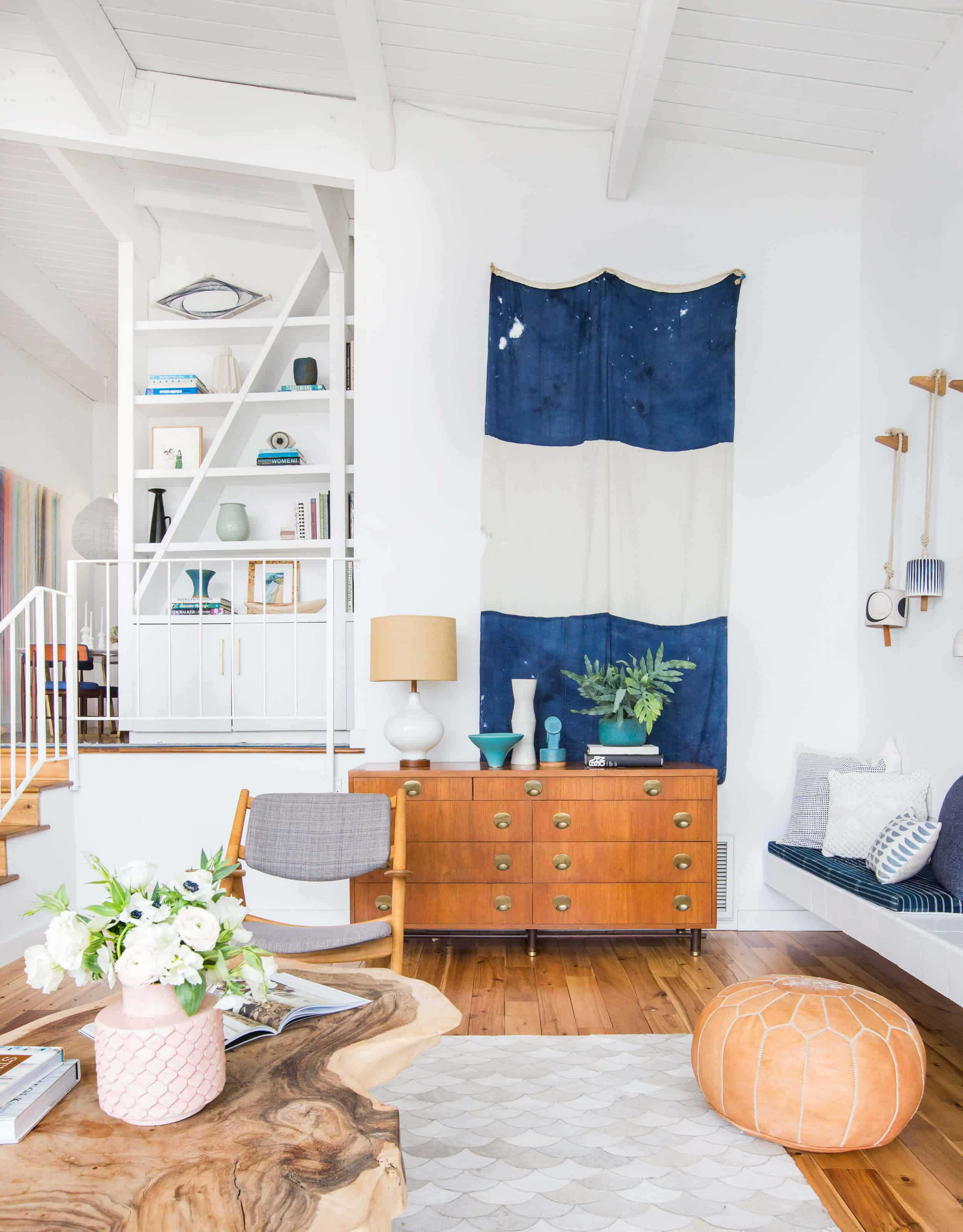 Emily Henderson_Living Room_Staged To Sell_Boho_Mid Century_Eclectic_Blue_White_Styled_Couch_Sectional_Staged11