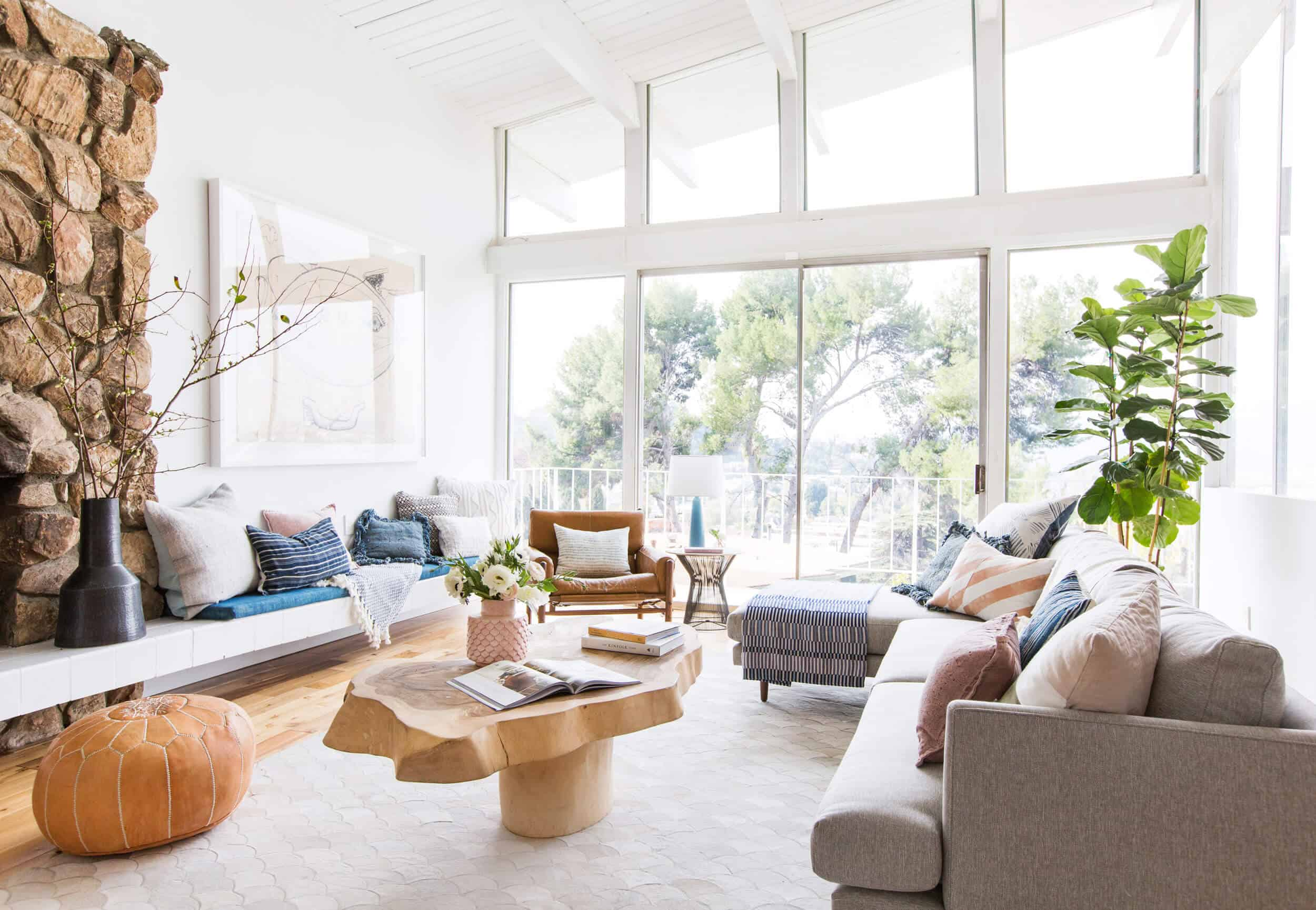 Emily Henderson_Living Room_Staged To Sell_Boho_Mid Century_Eclectic_Blue_White_Styled_Couch_Sectional_Staged12