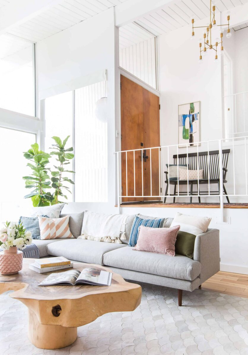 Emily Henderson_Living Room_Staged To Sell_Boho_Mid Century_Eclectic_Blue_White_Styled_Couch_Sectional_Staged2