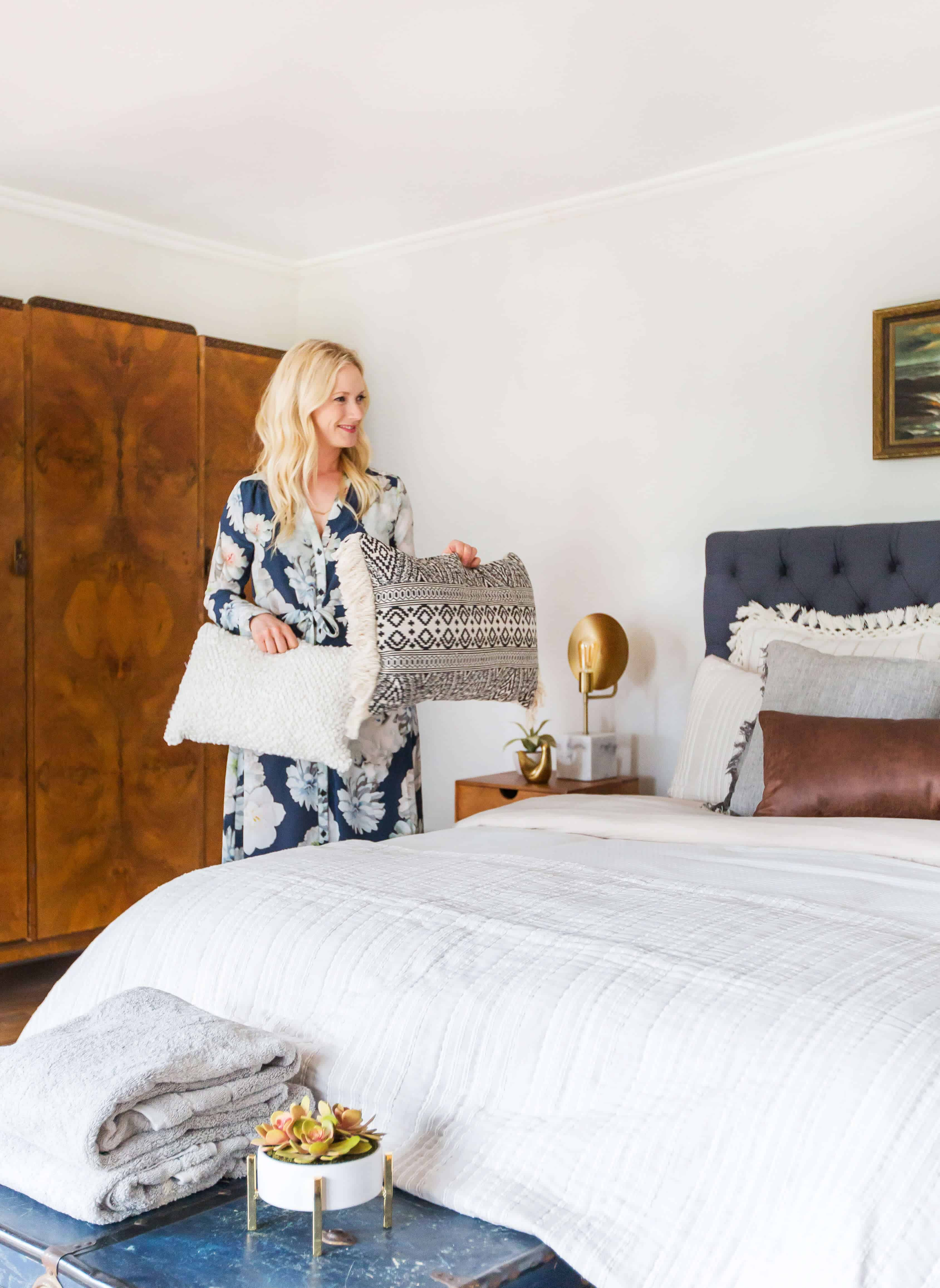 Emily Henderson_Target_Bed Styling_Styling to Sell_White_Blue_Leather_Gray_Guest Bedroom_12
