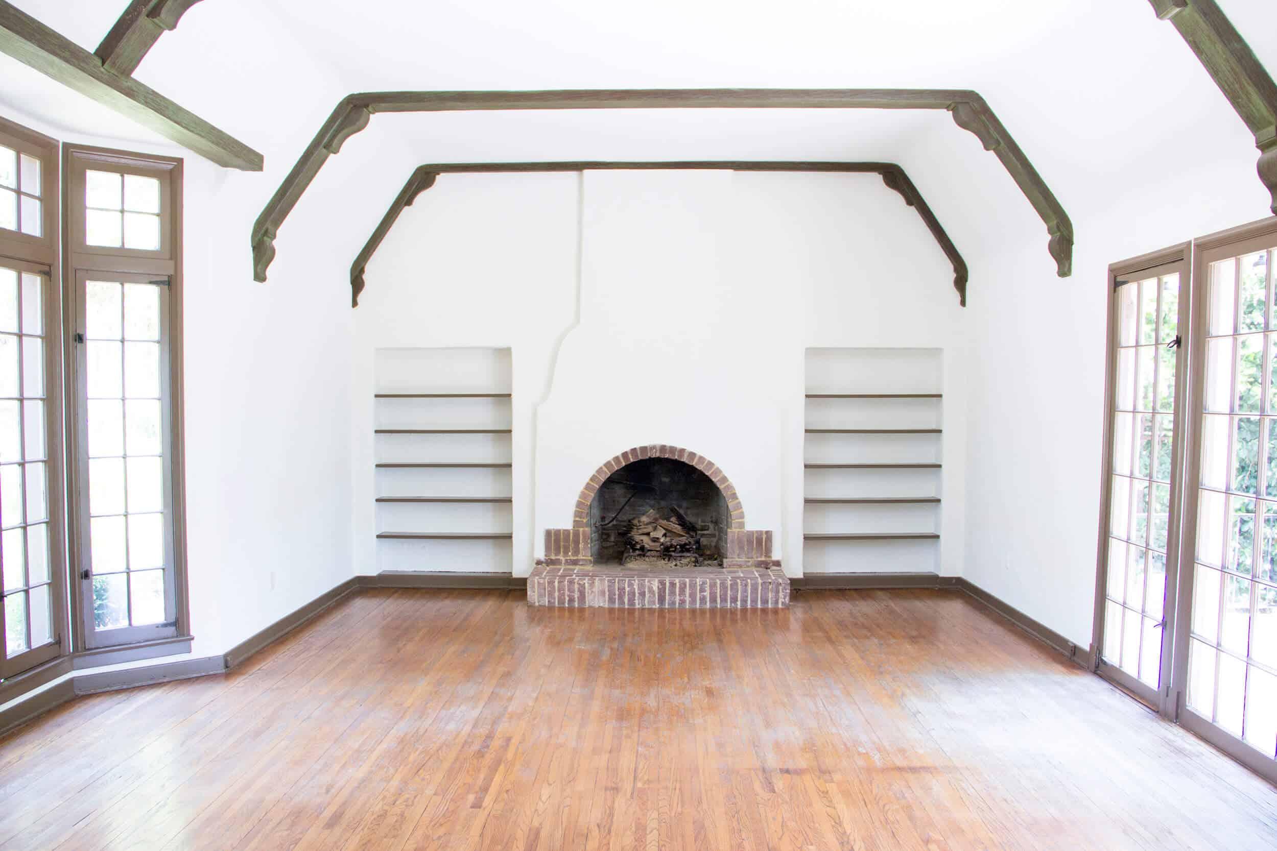 Emily Henderson_Waverly_BEFORE_Wood_Floor _Living Room Fireplace