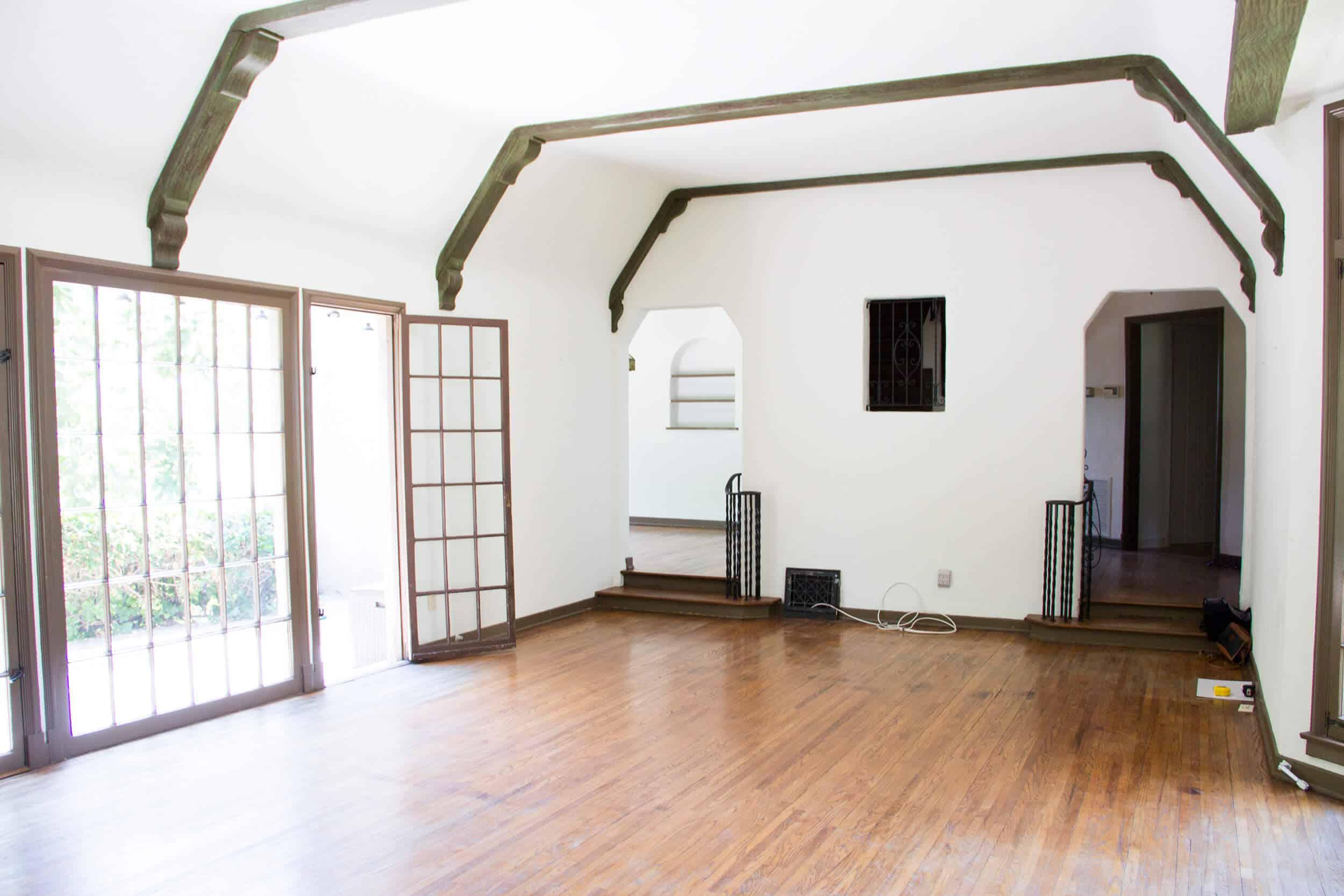 Emily Henderson_Waverly_BEFORE_Wood_Floor _Living Room_Dining Room Wall