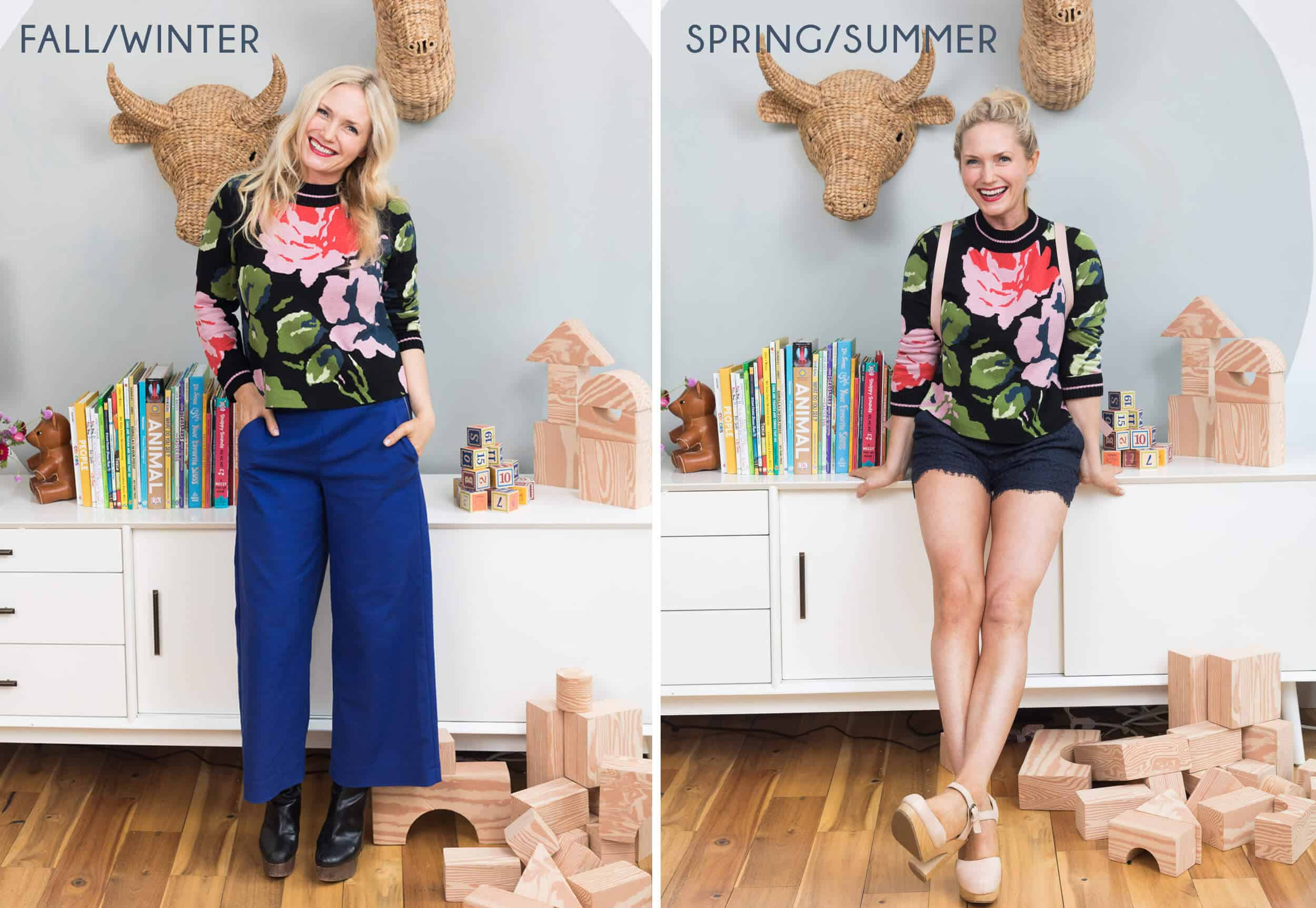 Emily Henderson Transitional Fashion Floral Sweater