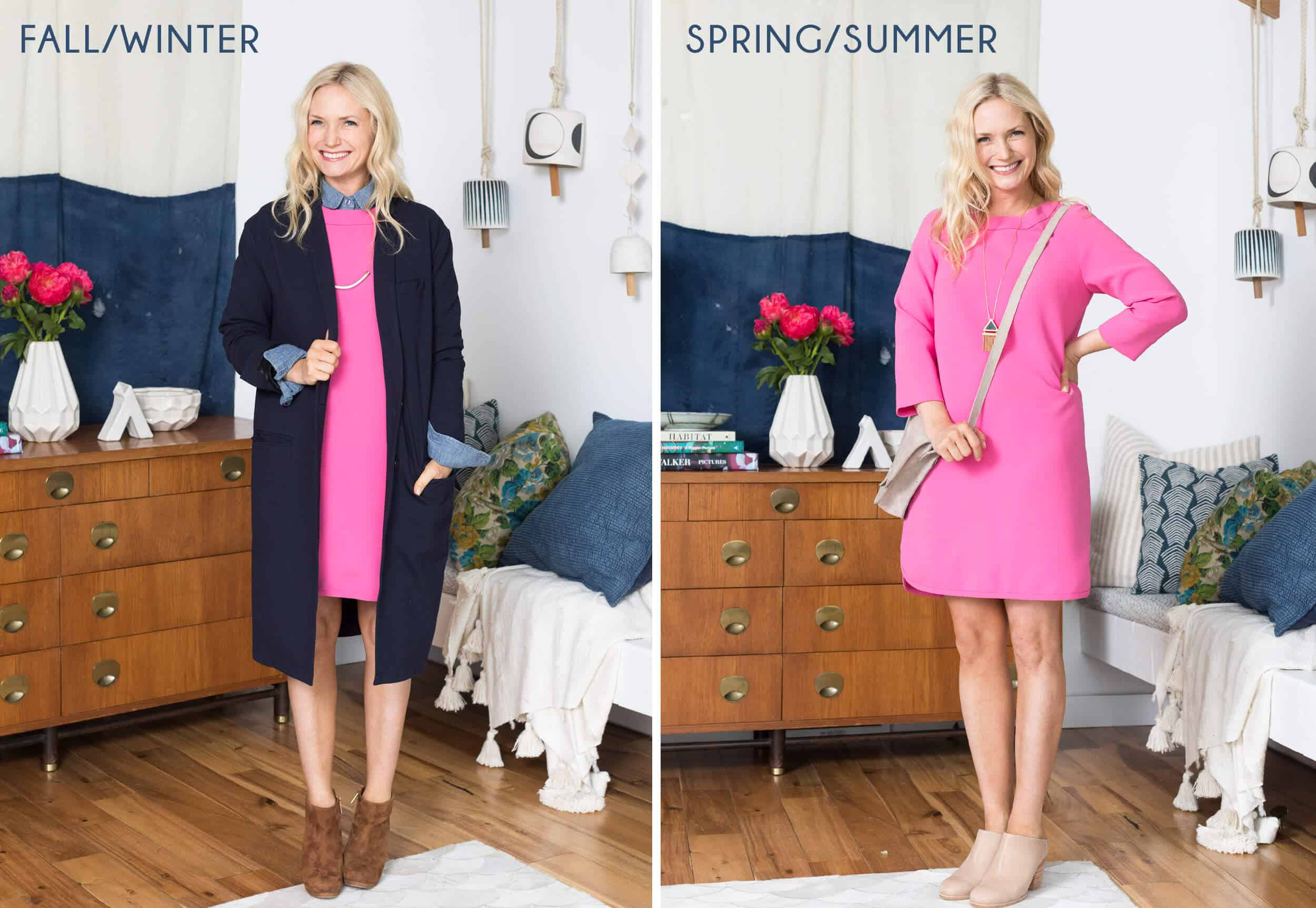 Emily Henderson Transitional Fashion Pink Dress