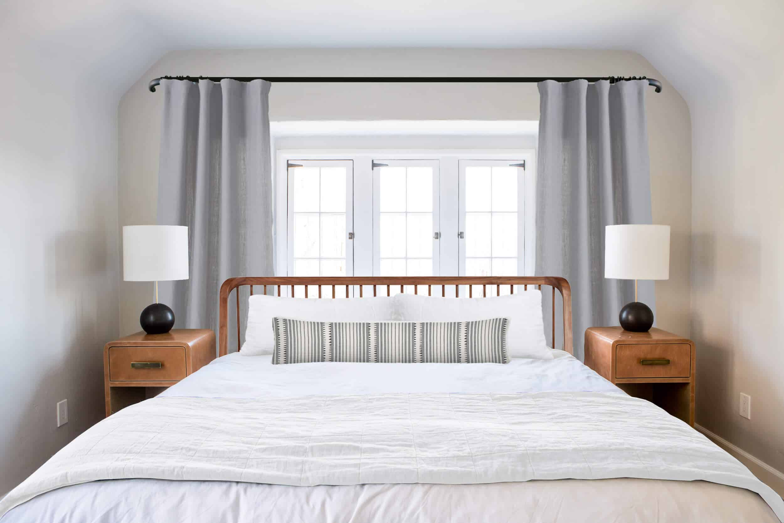 Emily Henderson_Ask the Audience_ Master Bedroom_Headboard_Low_Profile_Windsor with Bolster Striped Fabric and White Blanket