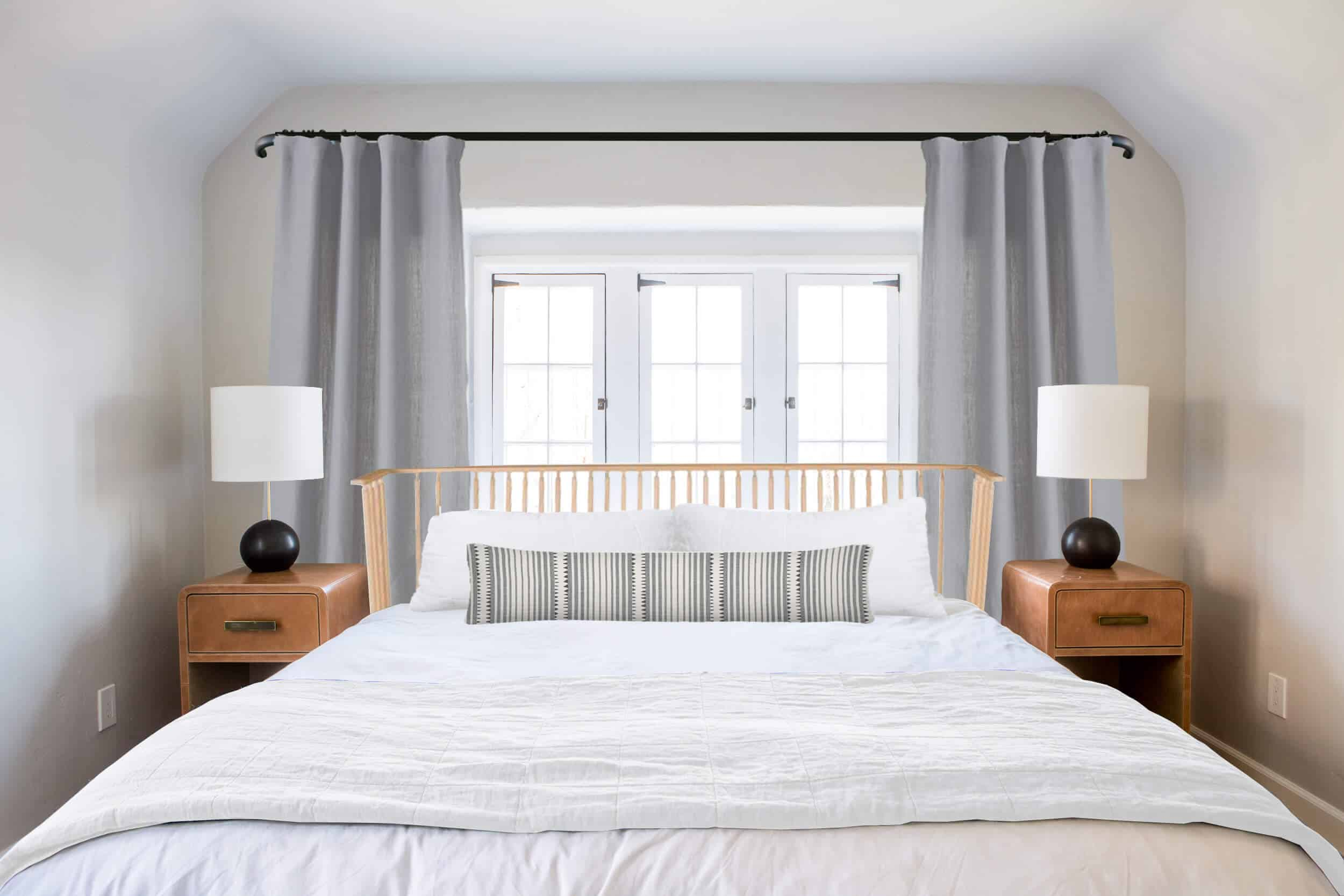 Emily Henderson_Ask the Audience_Master Bedroom_Headboards_Spindle with Bolster Stripped Fabric and White Blanket