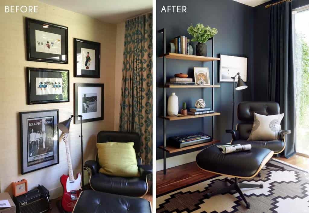 Emily Henderson_Home Office_Masculine_Modern_Dark_Ecletic_Blue_Side by Side_1