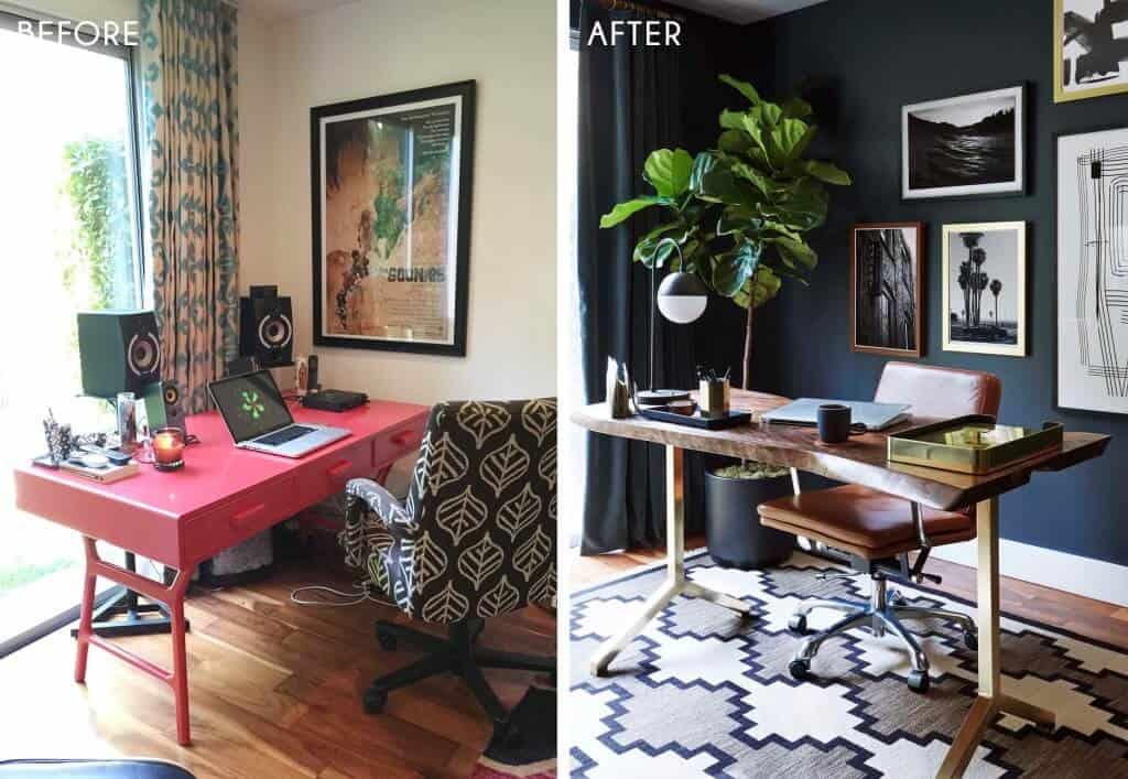 Emily Henderson_Home Office_Masculine_Modern_Dark_Ecletic_Blue_Side by Side_2