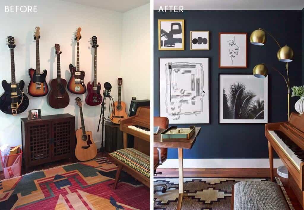 Emily Henderson_Home Office_Masculine_Modern_Dark_Ecletic_Blue_Side by Side_3