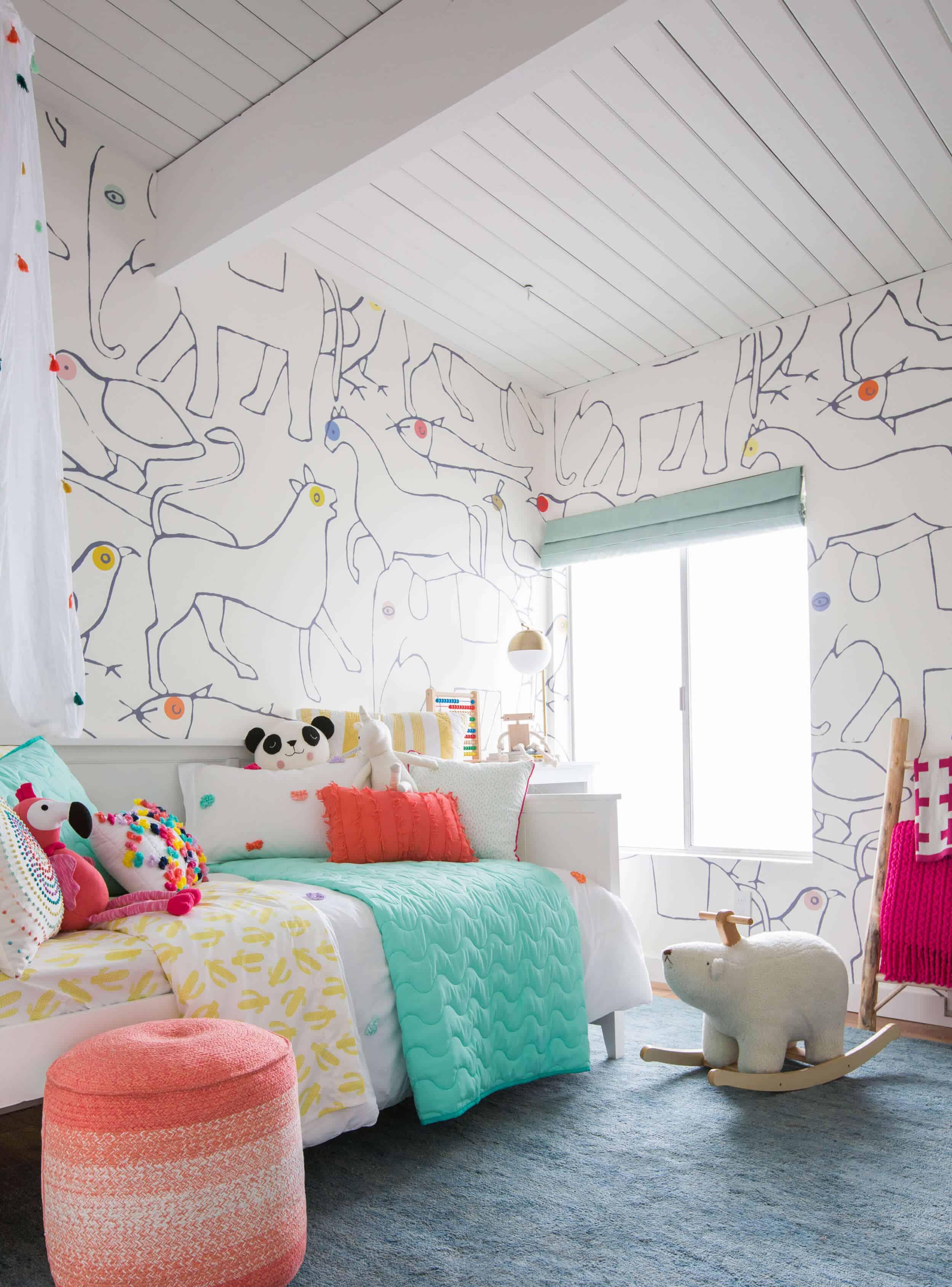 Emily Henderson_Kids Room_Target_Bedding_Layered_Light_Texture_Blue_White_Brass_Nursery_Girls Room_Bright_4