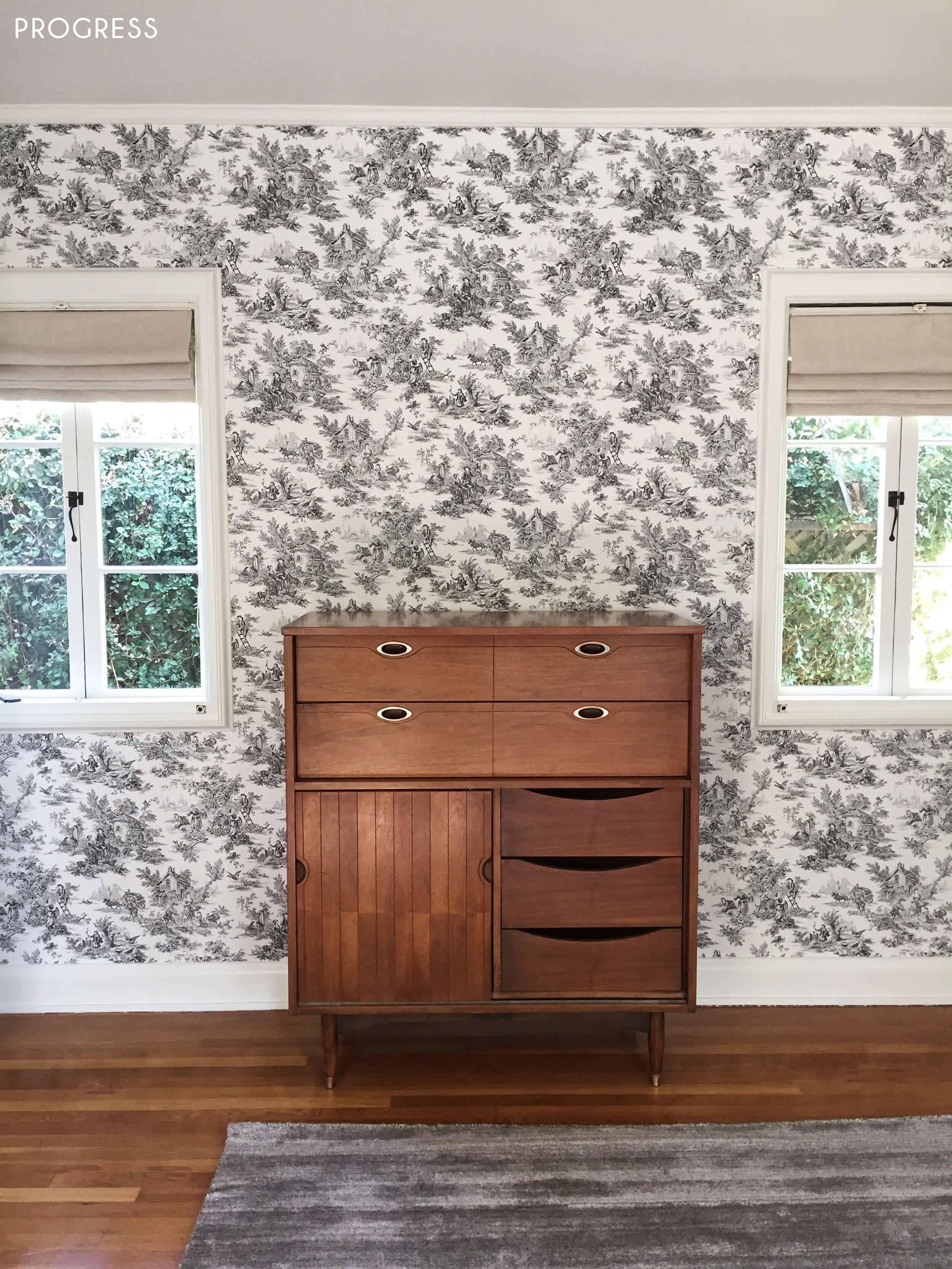 Guest Bedroom_Traditional Eclectic_Industrial_Modern_Toile_Wallpaper_Progress