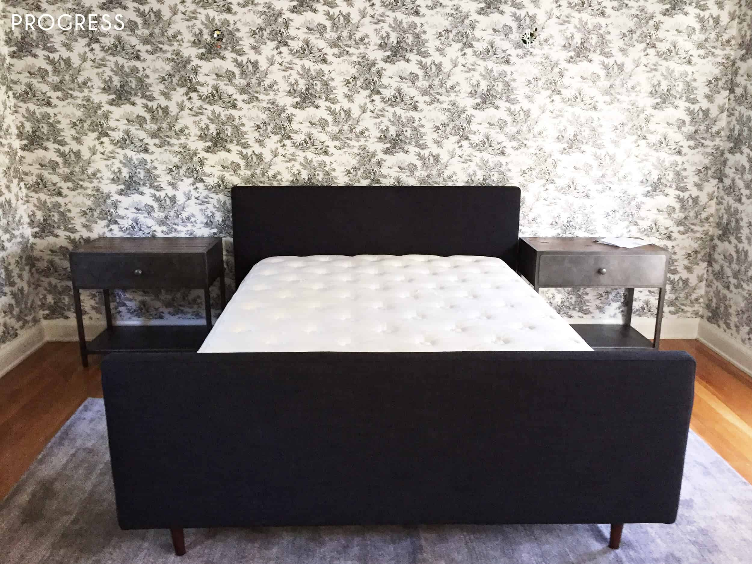 Guest Bedroom_Traditional Eclectic_Industrial_Modern_Toile_Wallpaper_Progress_1