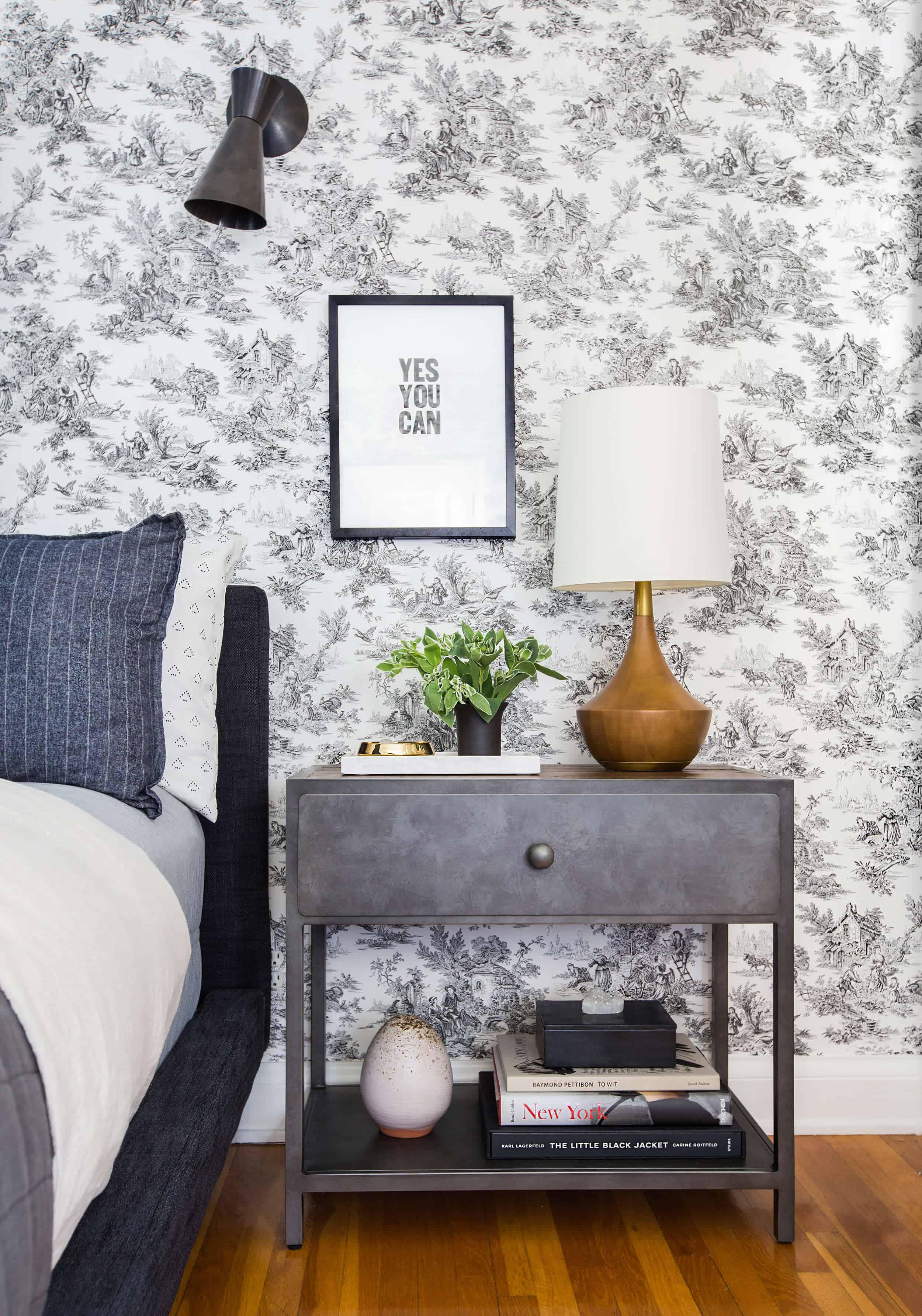 Guest Bedroom_Traditional Eclectic_Industrial_Modern_Toile_Wallpaper_Sneak Peek