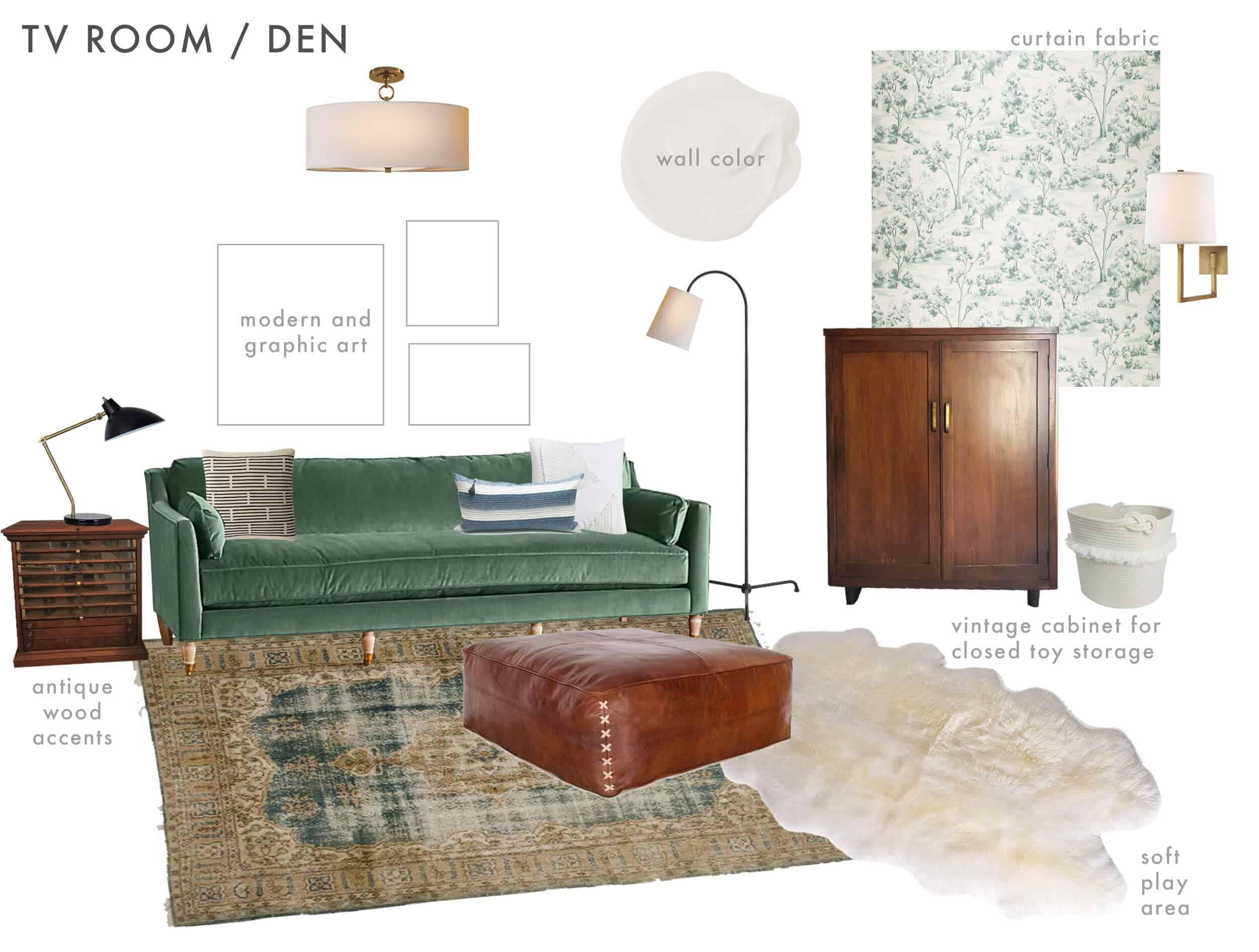 Emily Henderson_Ask the Audience_English Tudor_Modern Traditonal_Family Room_Play Room_Mood Board_version 1