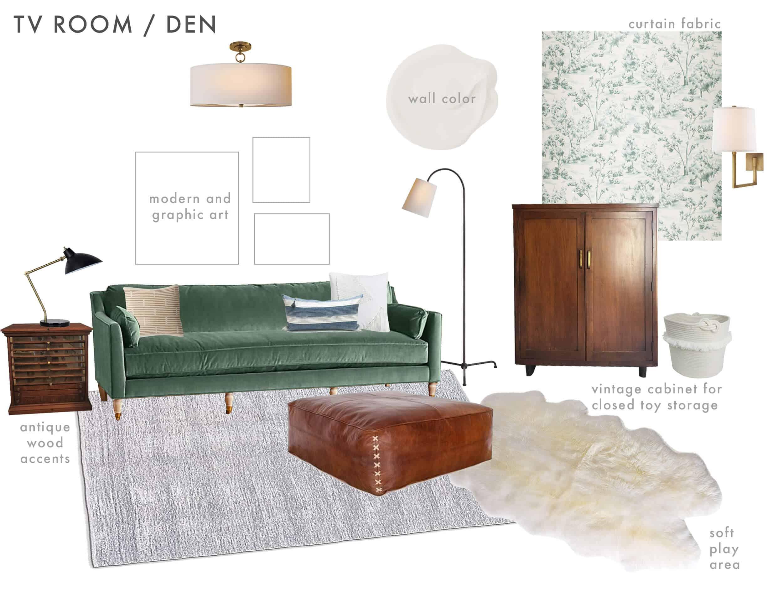 Emily Henderson_Ask the Audience_English Tudor_Modern Traditonal_Family Room_Play Room_Mood Board_version 2