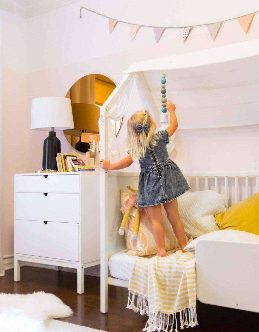 Emily Henderson_Brady Tolbert_Stokke Home_Nursery_Kids Room_Pink_Boho_Scandinavian_Modern_White_Pink_Blush_4