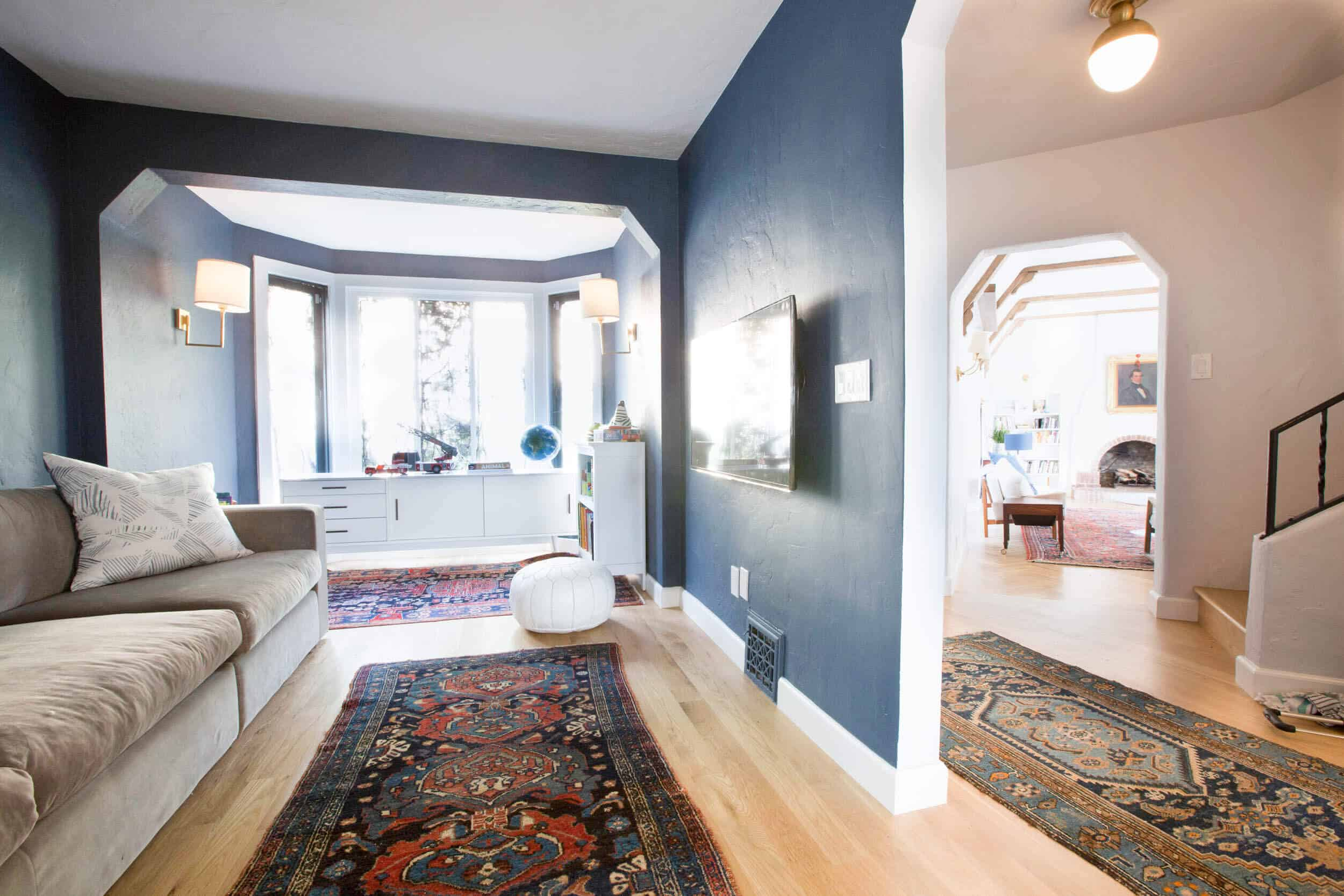 Emily Henderson_Family Room_Blue Paint_Tudor_Ask the Audience_Gray Sectional_2