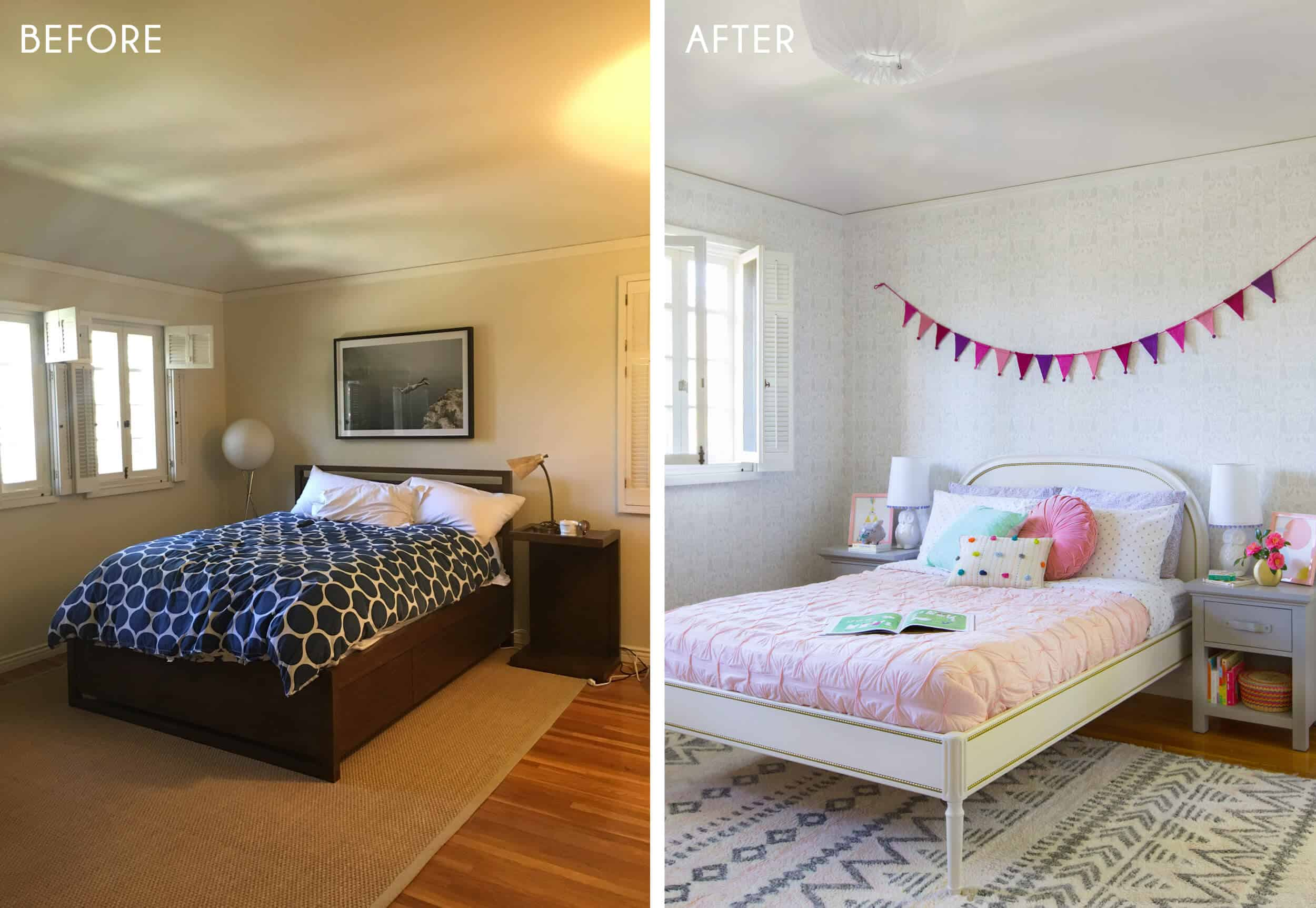 Emily Henderson_Full Design_Little Girls Room_Pink_Gray_Playful_Before and After_4