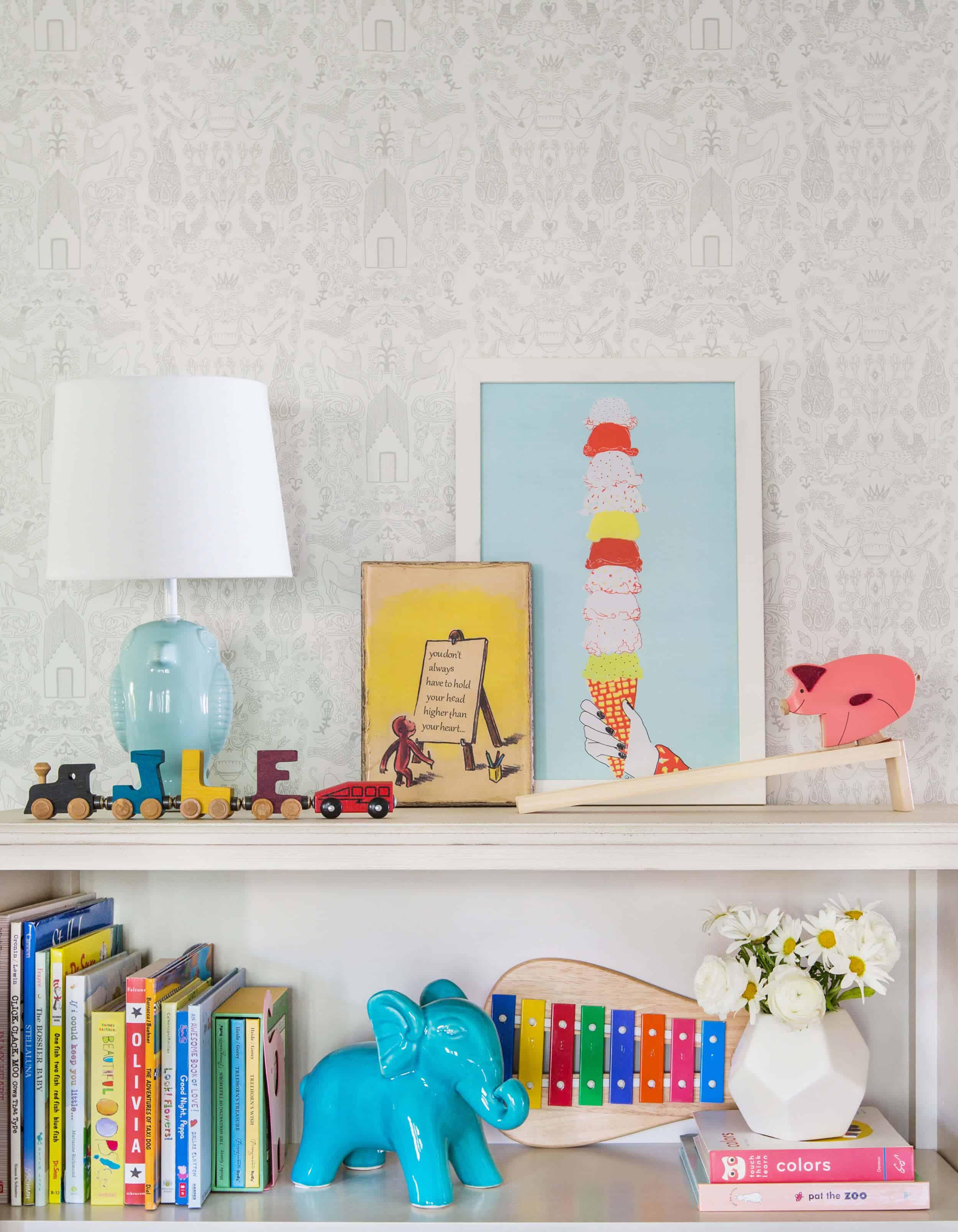 Emily Henderson_Full Design_Little Girls Room_Pink_Gray_Playful_Pics_2