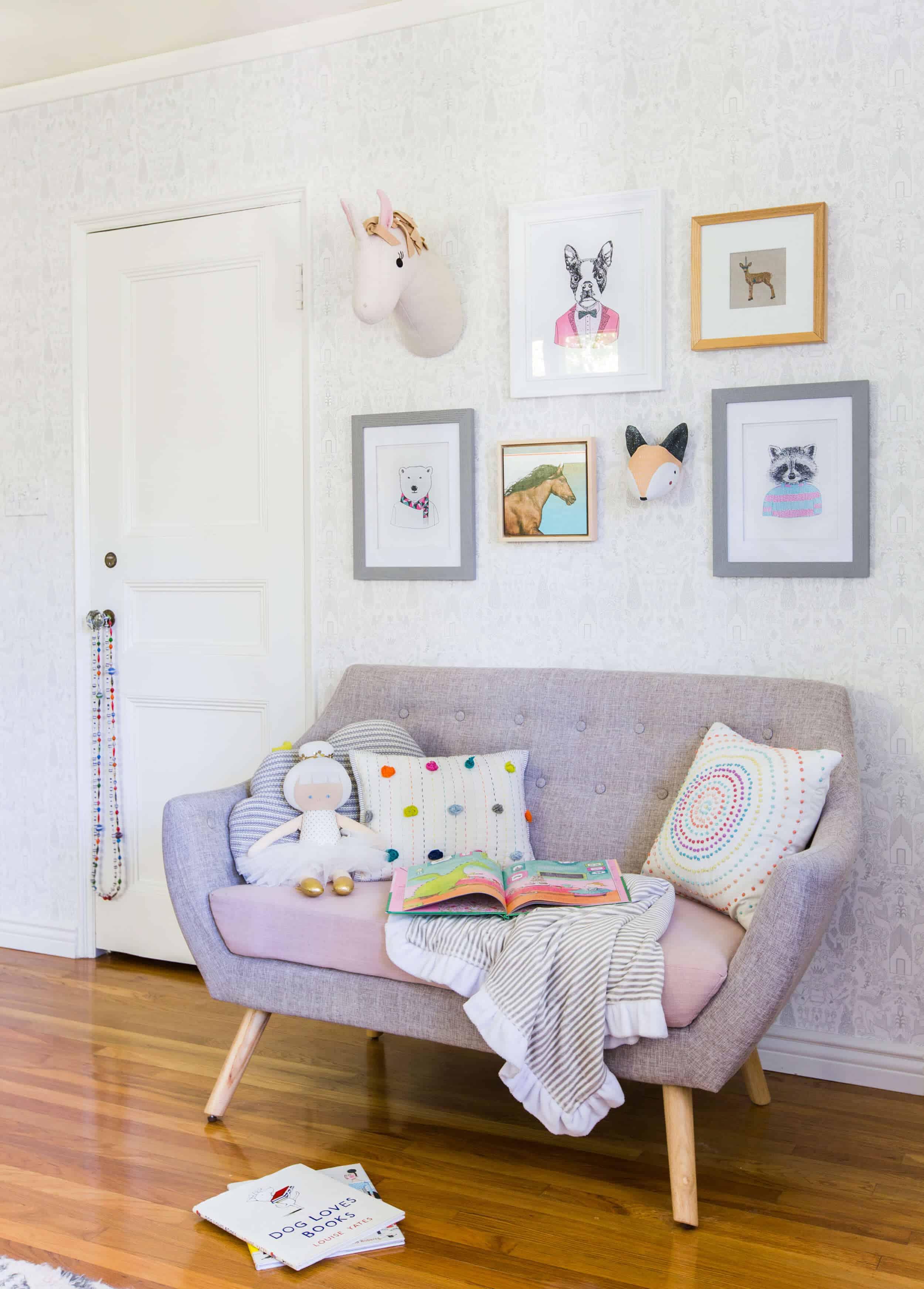 Emily Henderson_Full Design_Little Girls Room_Pink_Gray_Playful_Pics_9