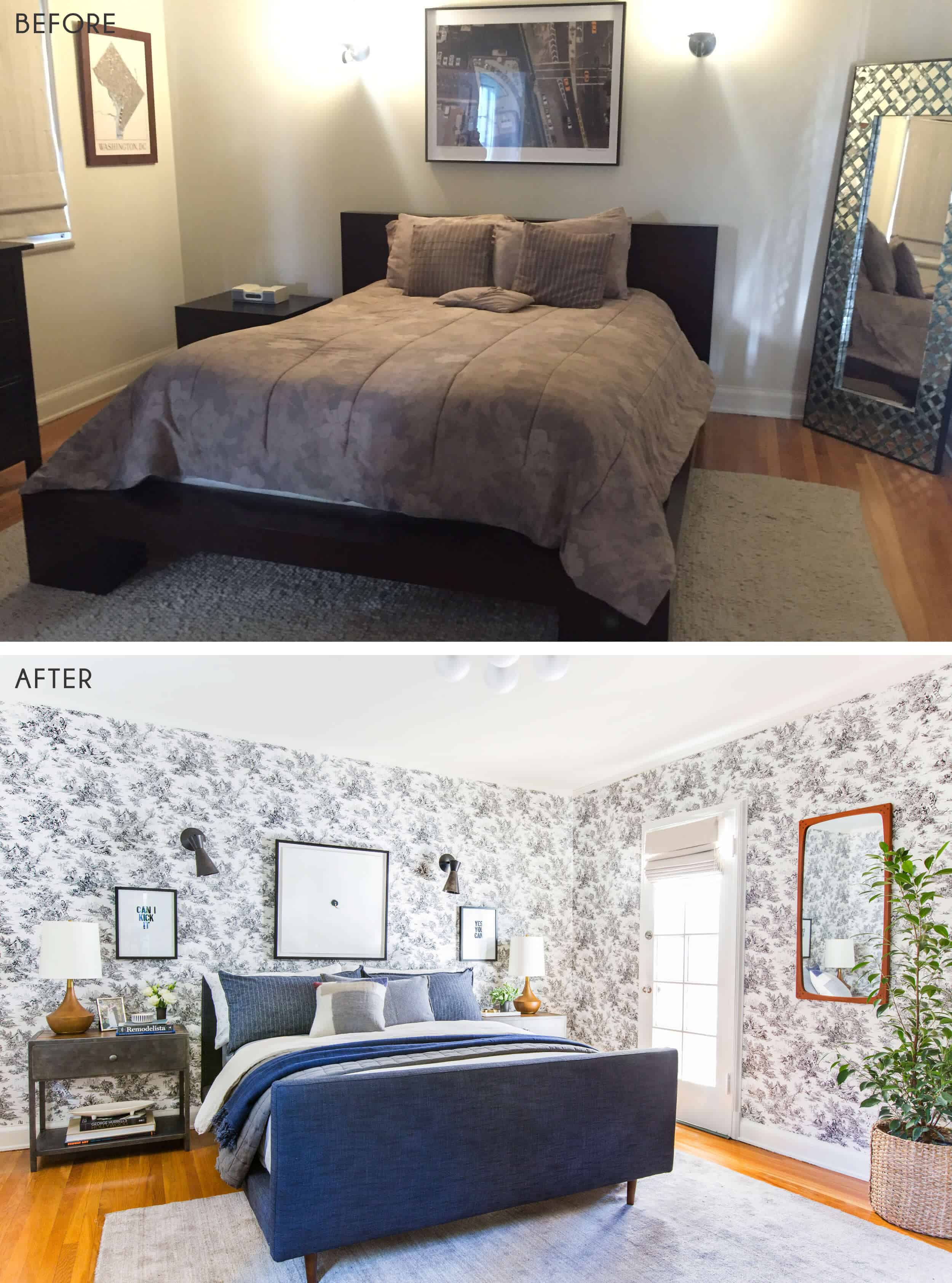 Guest Bedroom_Traditional Eclectic_Industrial_Modern_Toile_Wallpaper_Reveal_Before_After_3