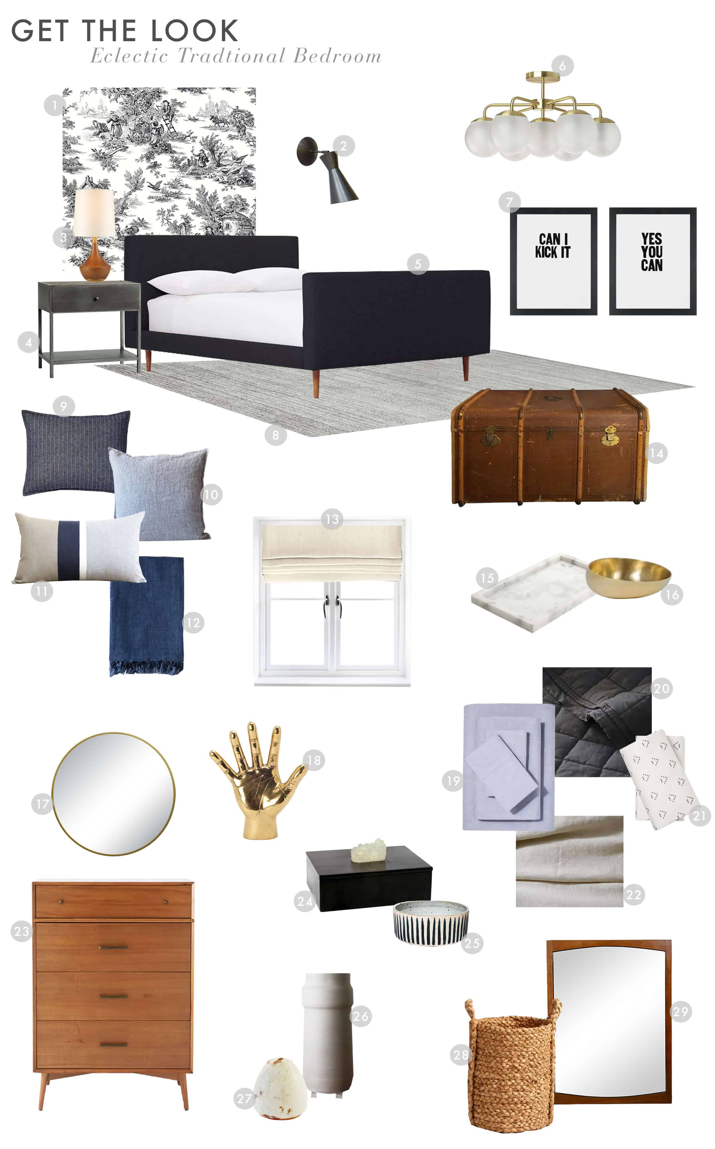 Guest Bedroom_Traditional Eclectic_Industrial_Modern_Toile_Wallpaper_Reveal_Get the Look_3