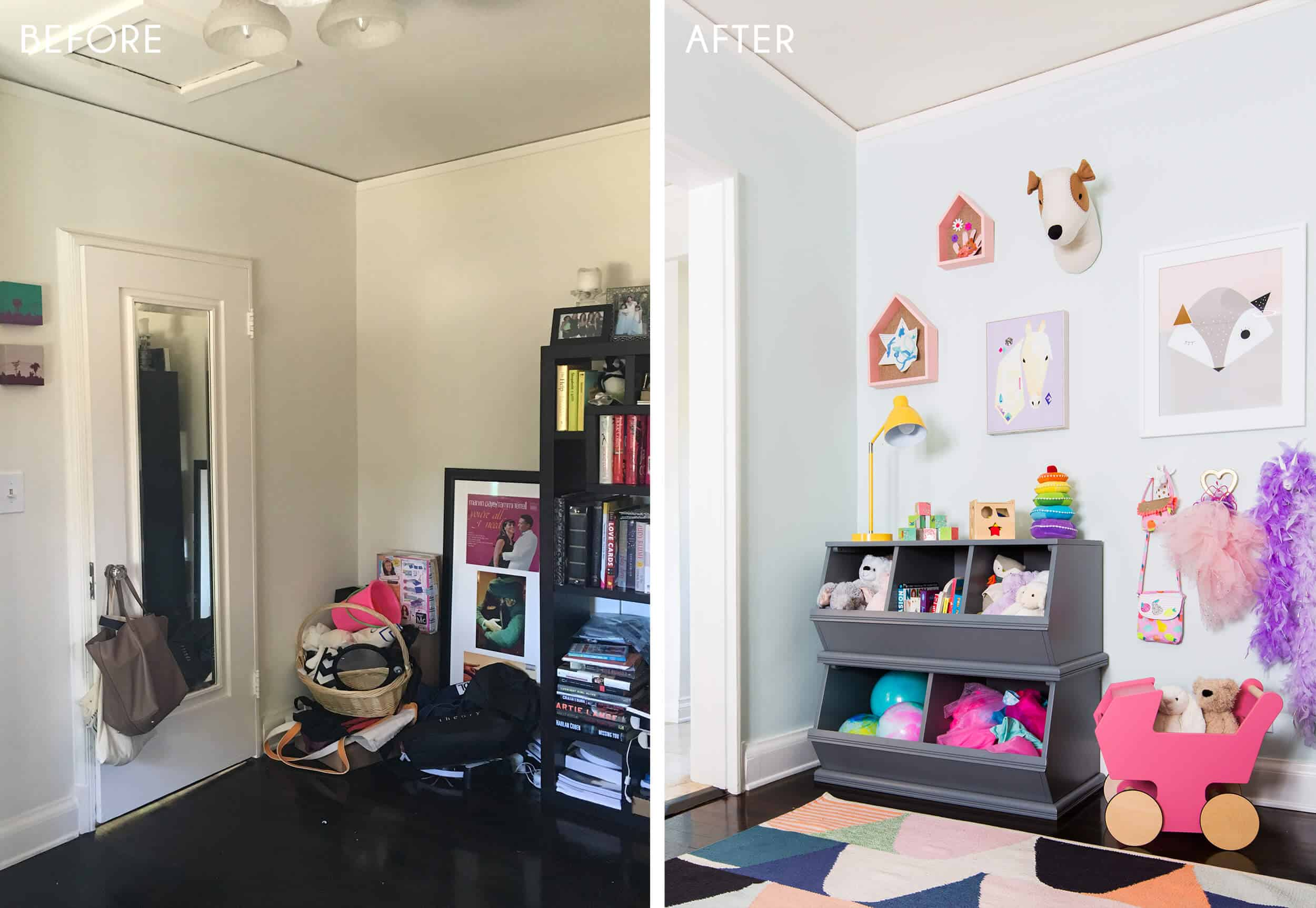 Playroom_Girls_Bright_Happy_Modern_Emily Henderson_Before_Side by Side_After_3