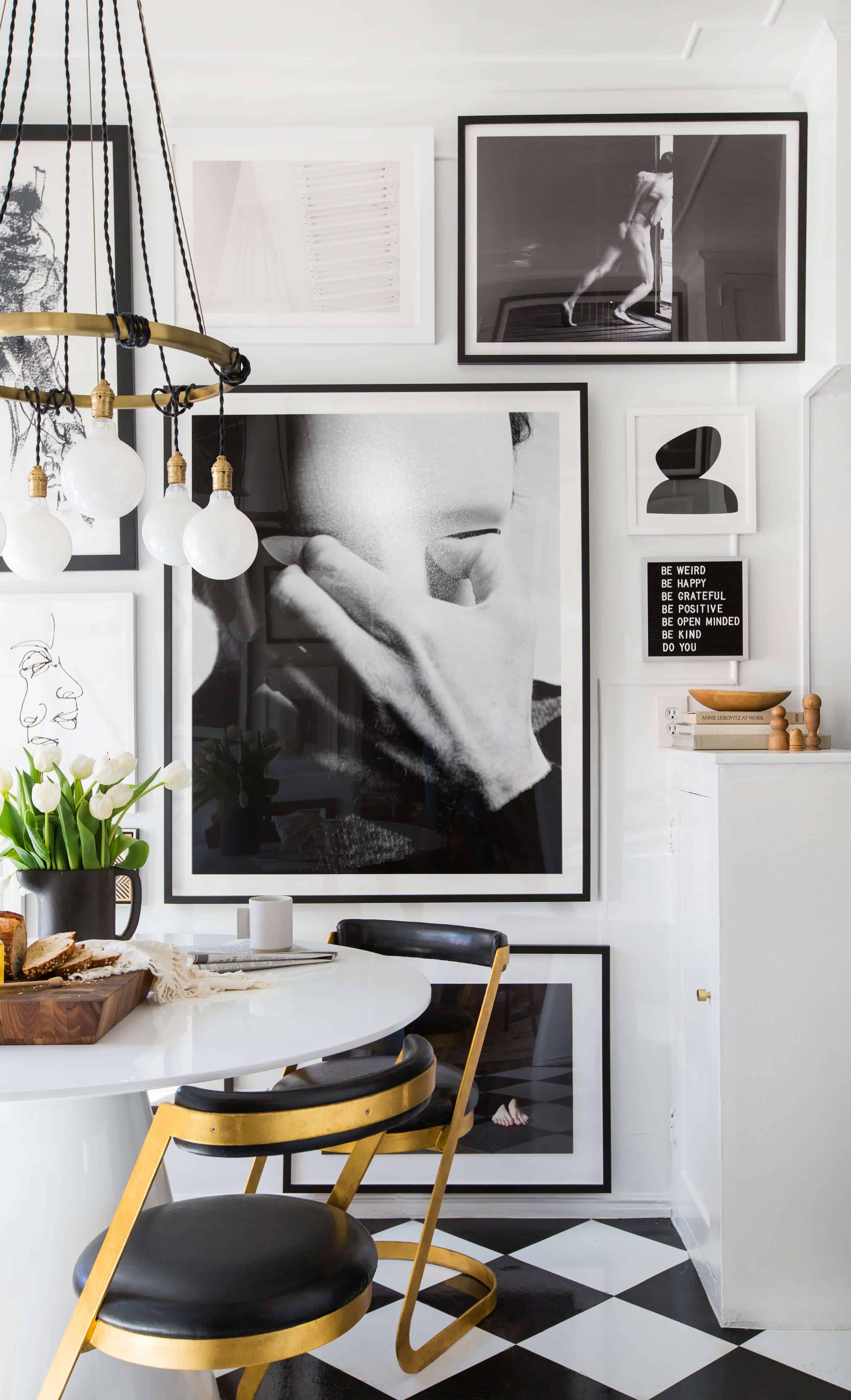 Brady-Tolbert_Emily-Henderson_Black-and-White-Kitchen_Vintage_Apartment-Refresh_Wood_Brass_Checkered-Floor_Copper-Pots_Eclectic_Glam_Modern_Traditional_6
