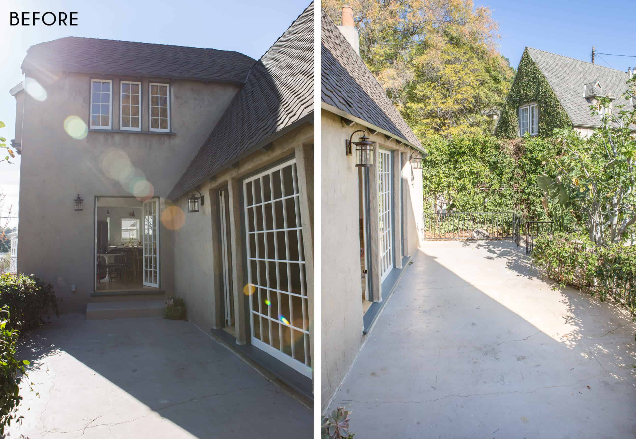 Emily-Henderson_New-House_Modern-English-Cottage_Courtyard_Intro-Post_Before_Side-By-Side_1
