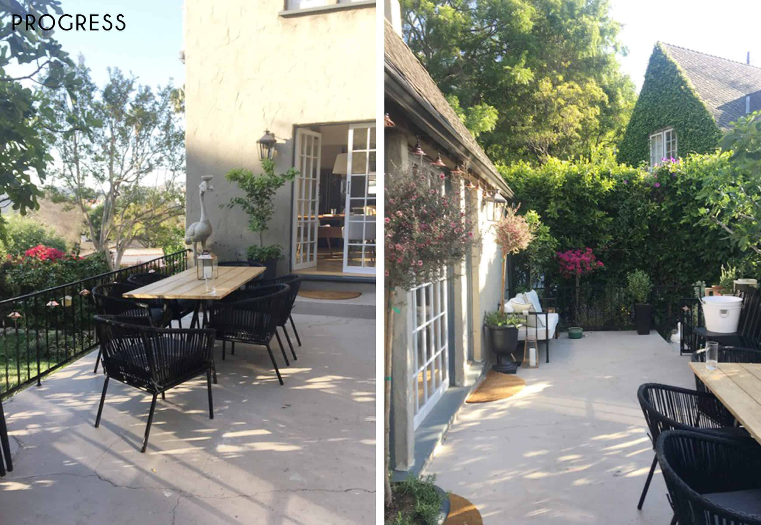 Emily-Henderson_New-House_Modern-English-Cottage_Courtyard_Intro-Post_Progress_Side-By-Side