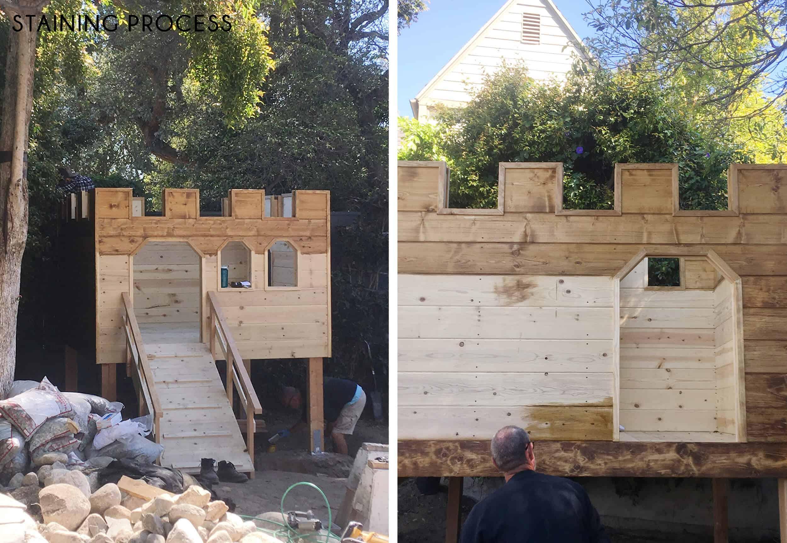 Emily-Henderson_Waverly_Backyard_Playfort_Castle_Staining-Process