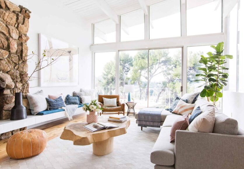 Emily Henderson Living Room Staged To Sell Boho Mid Century Eclectic Blue White Styled Couch Sectional Staged12