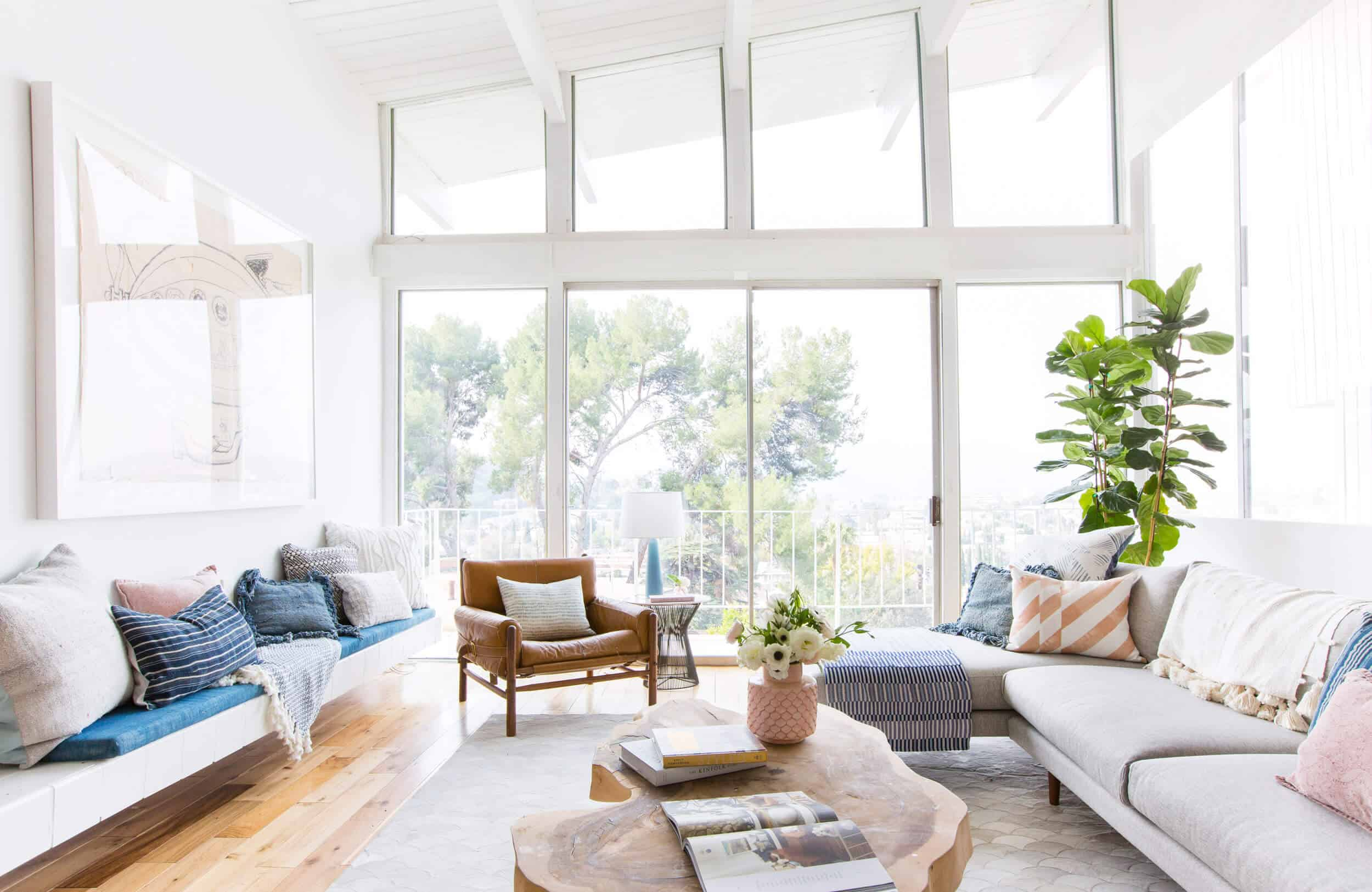 Emily Henderson Living Room Staged To Sell Boho Mid Century Eclectic Blue White Styled Couch Sectional Staged3