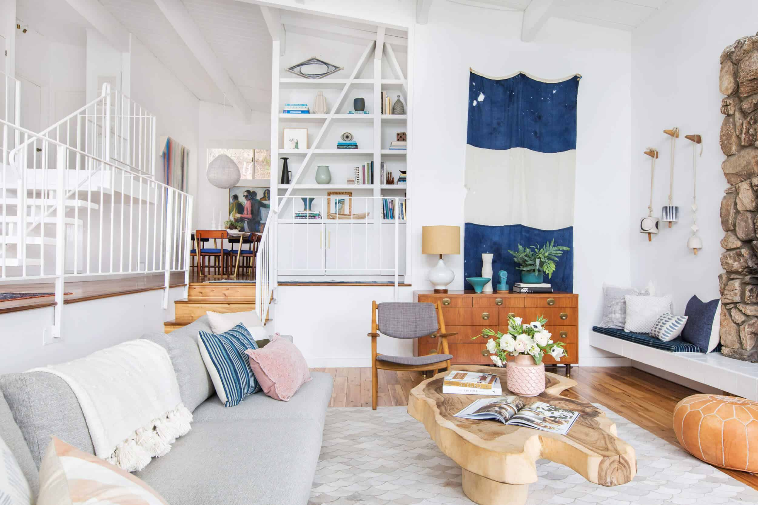Emily Henderson Living Room Staged To Sell Boho Mid Century Eclectic Blue White Styled Couch Sectional Staged6