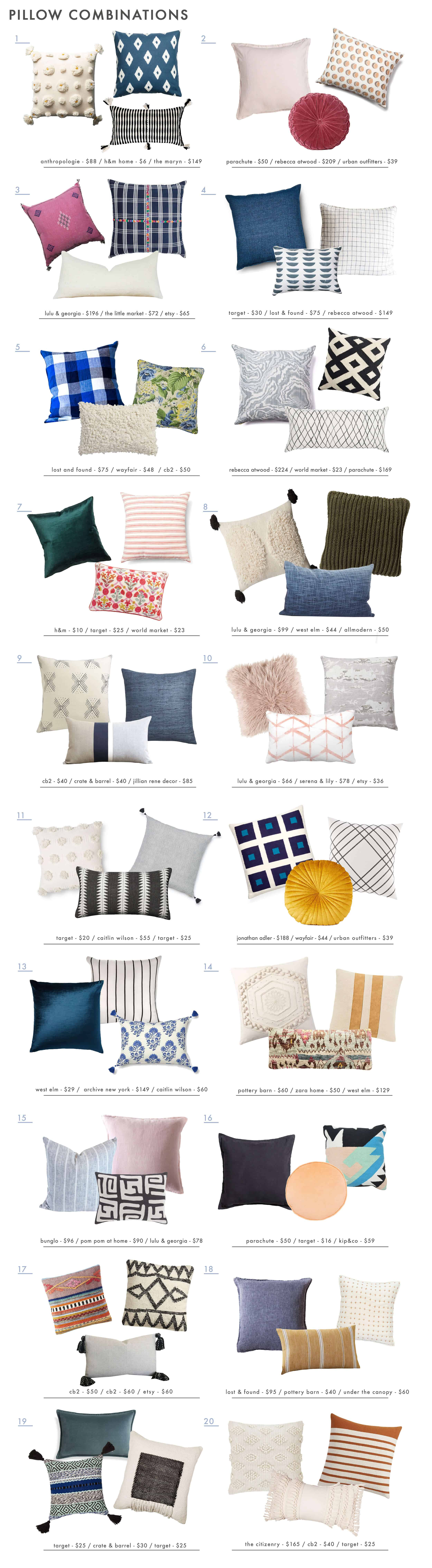 Emily Henderson Pillow Combos Color Texture Size Roundup 1