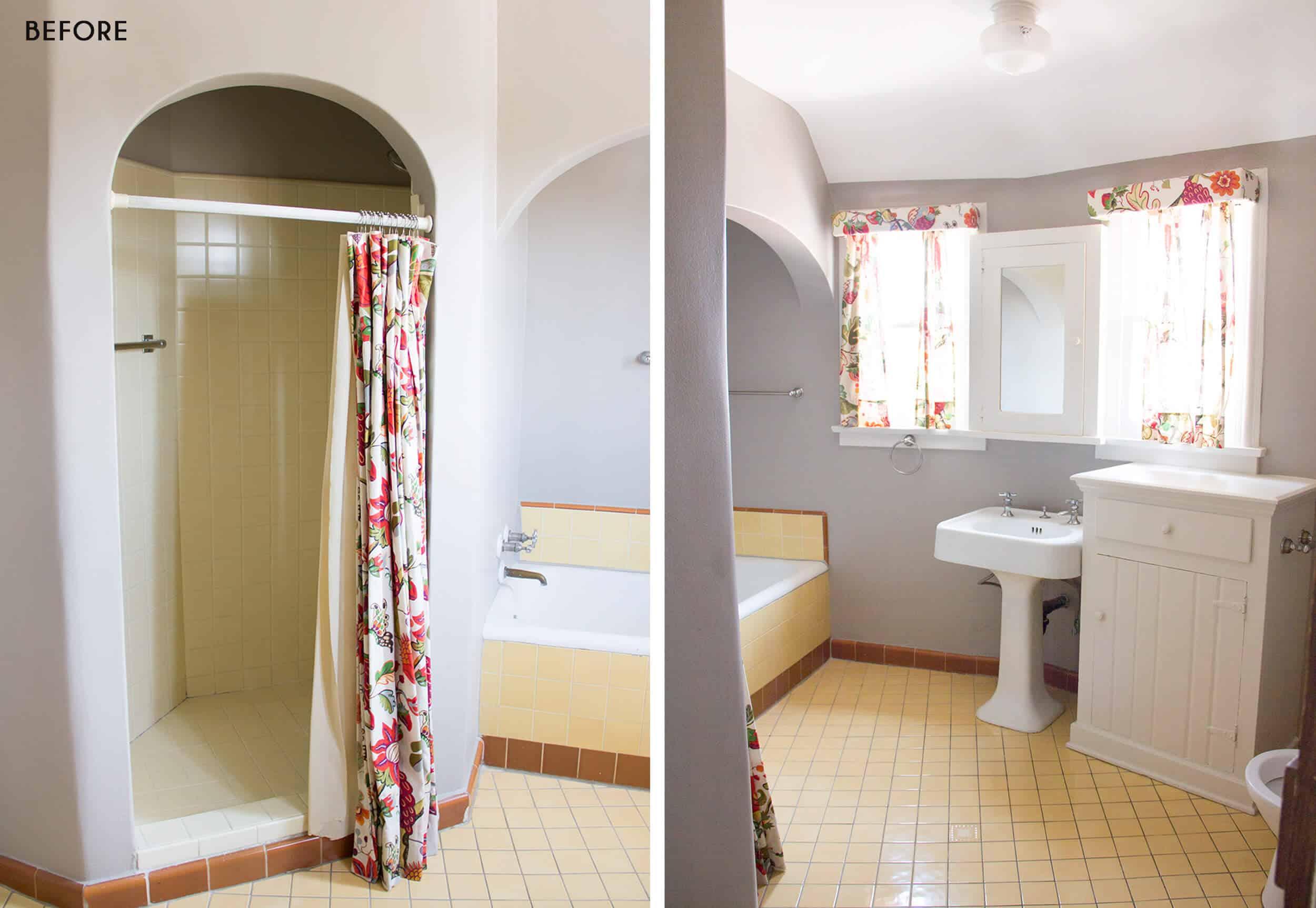 Emily Henderson Emilys House Modern English Tudor Real Simple Master Bathroom Reveal Before