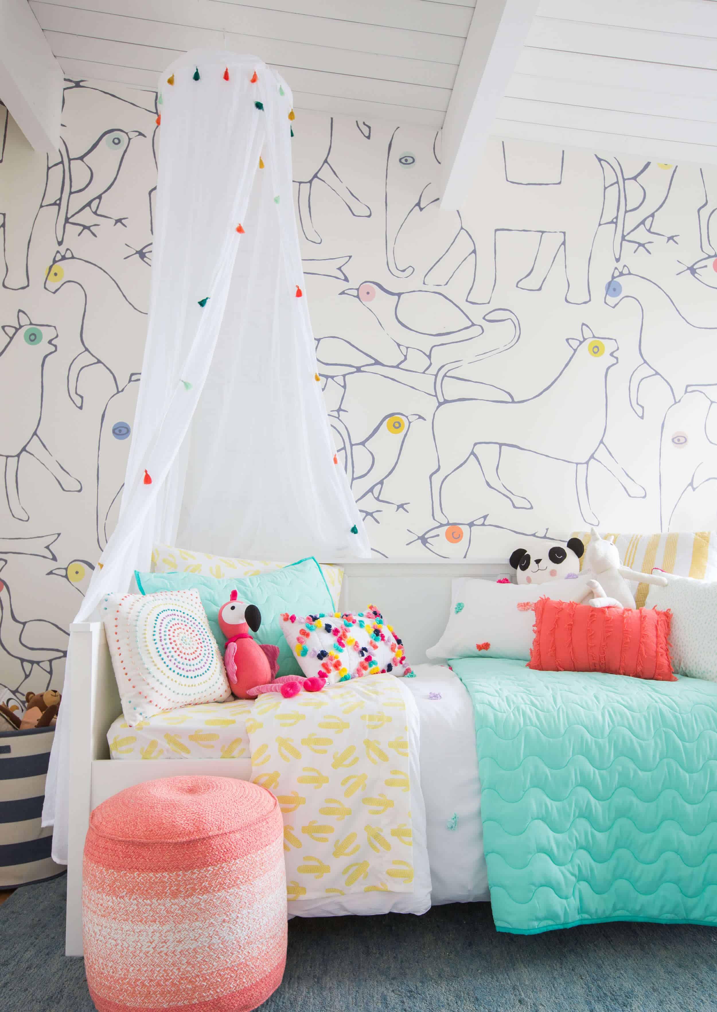 Emily Henderson Kids Room Target Bedding Layered Light Texture Blue White Brass Nursery Girls Room Bright 1