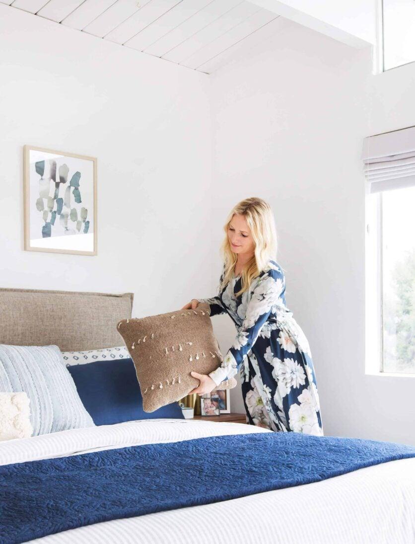Emily Henderson Master Bedroom Target Bedding Layered Light Texture Blue White Brass Masculine Soft 18