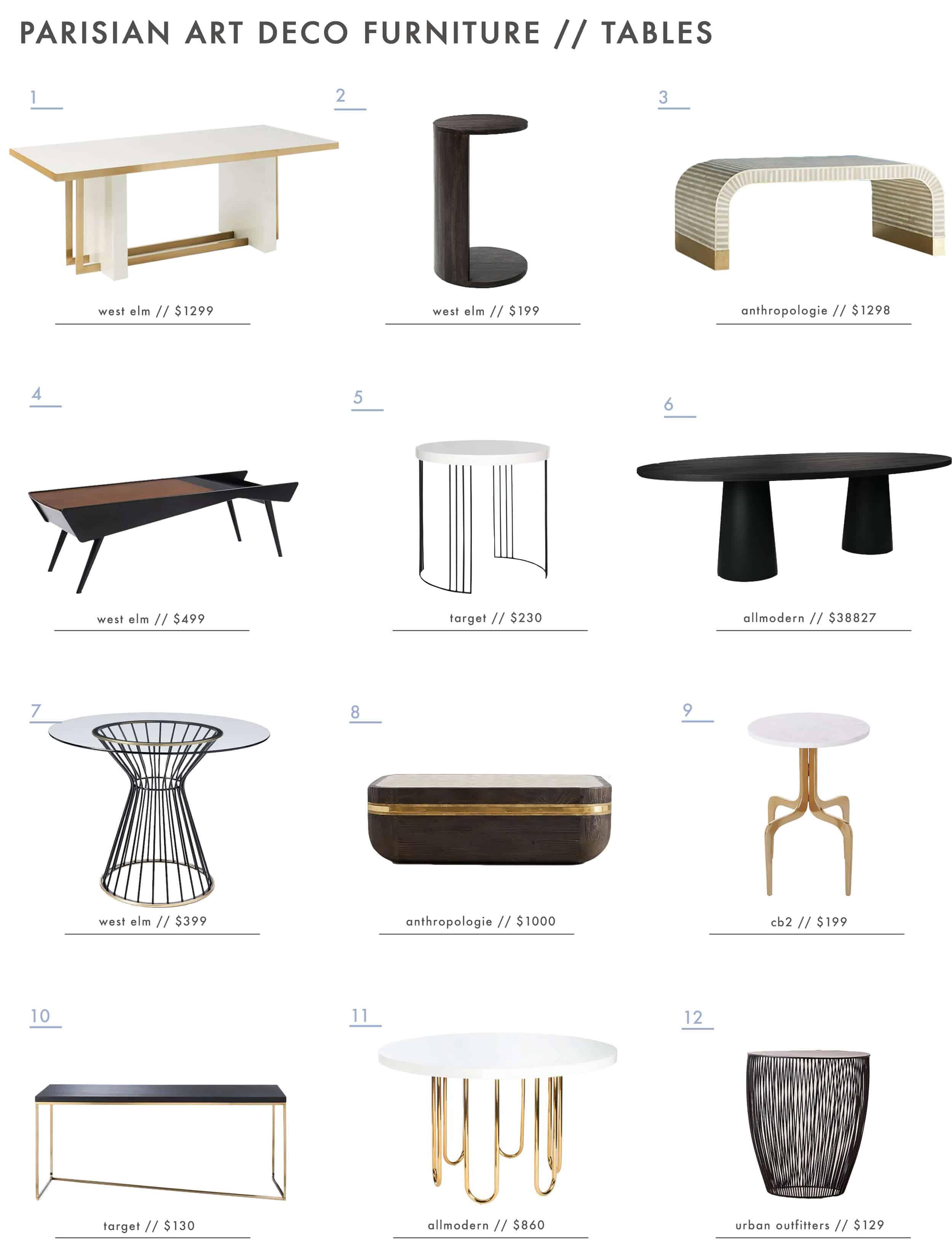 Emily Henderson Parisian Art Deco Furniture Tables Roundup