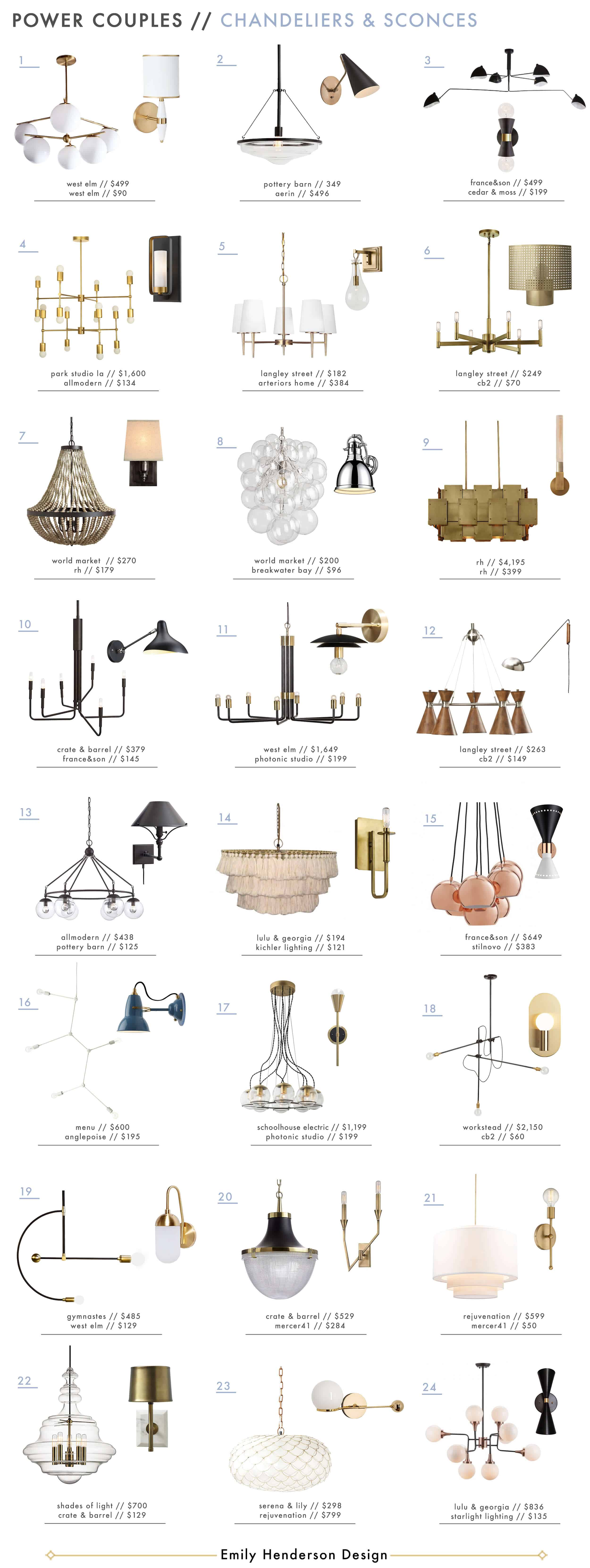 Emily Henderson Power Couples Chandelier Sconce Lighting Pairs Roundup