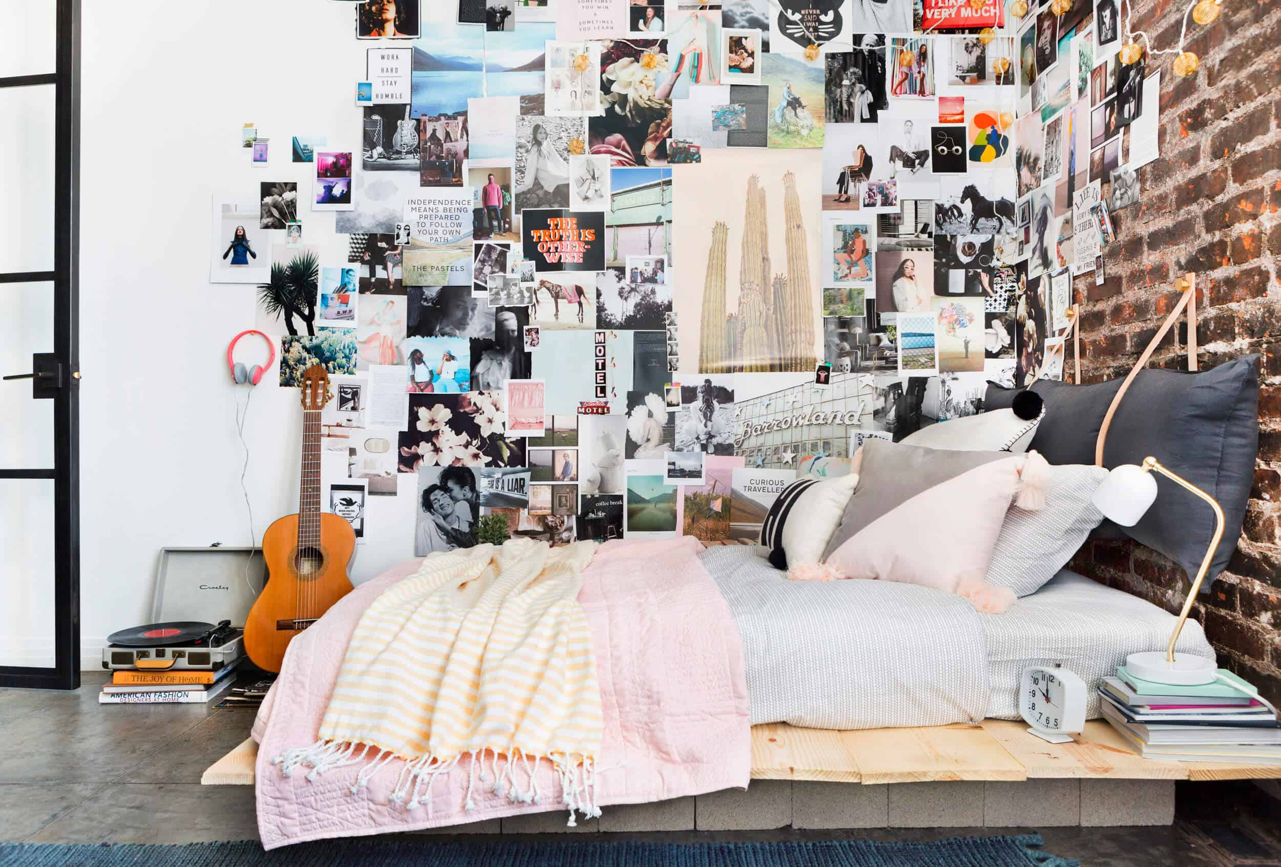 Emily Henderson Target Dorm Room Back To School Boho Eclectic Collage Wall Rocker Chic Musician Artistic Cinderblock Bed Leather Strap Headboard Diy 1