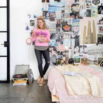 Emily Henderson Target Dorm Room Back To School Boho Eclectic Collage Wall Rocker Chic Musician Artistic Cinderblock Bed Leather Strap Headboard Diy 10