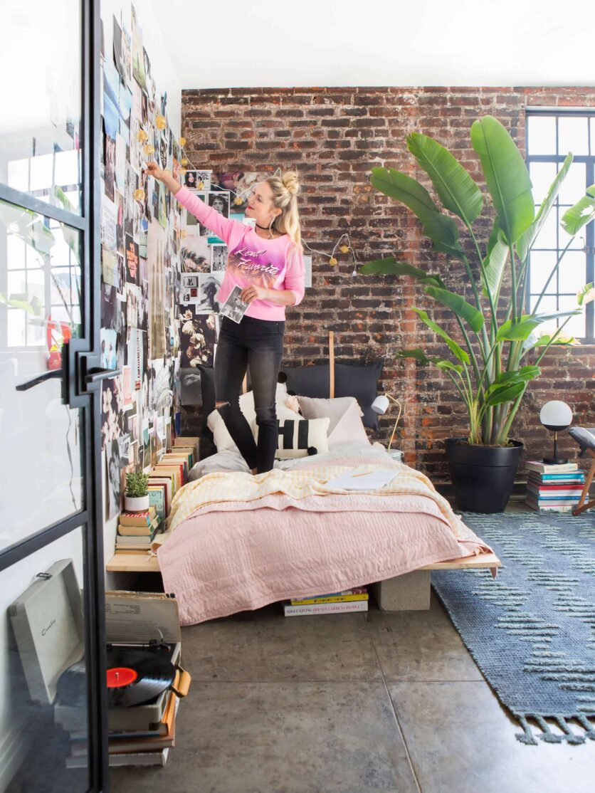 Emily Henderson Target Dorm Room Back To School Boho Eclectic Collage Wall Rocker Chic Musician Artistic Cinderblock Bed Leather Strap Headboard Diy 11