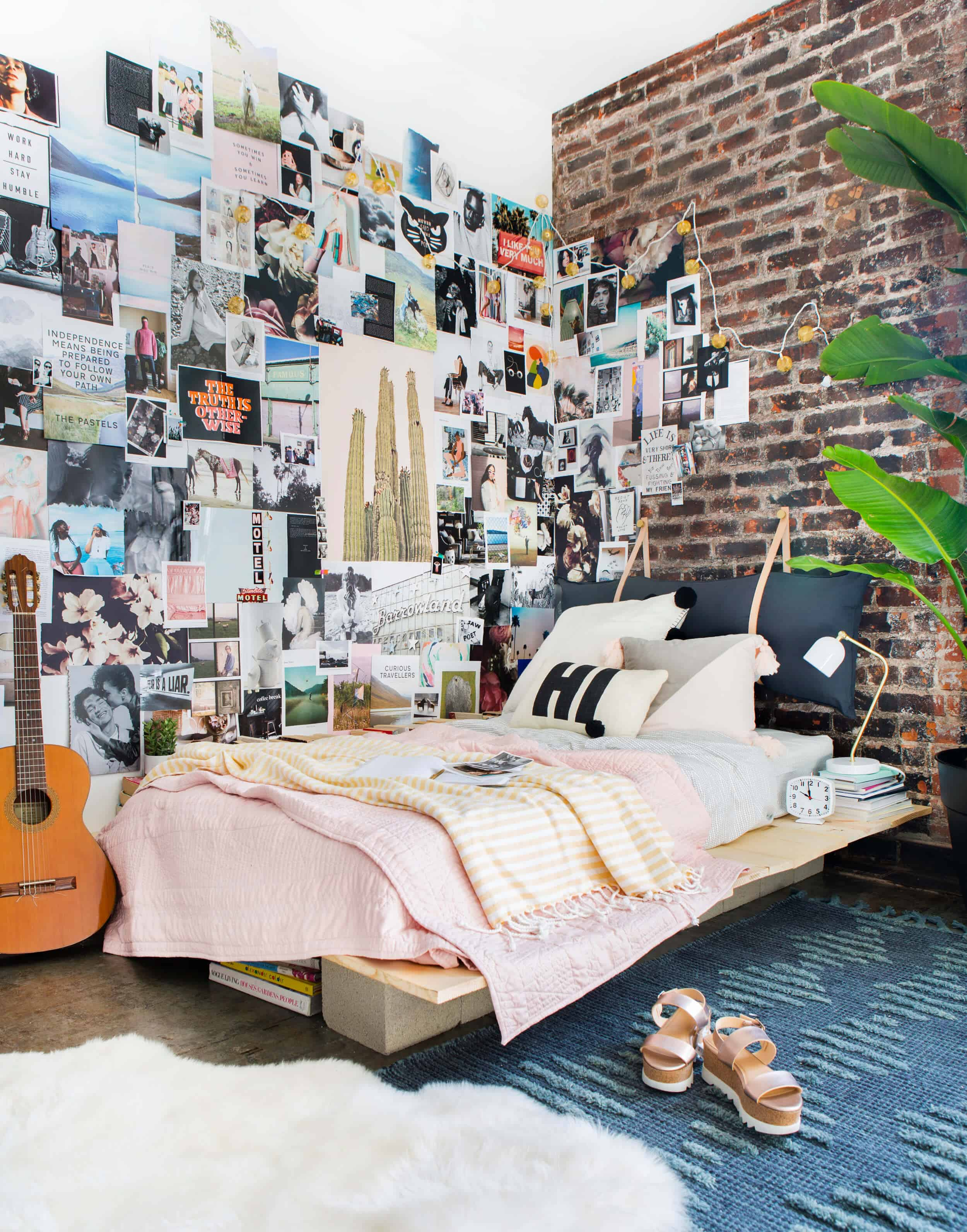 Emily Henderson Target Dorm Room Back To School Boho Eclectic Collage Wall Rocker Chic Musician Artistic Cinderblock Bed Leather Strap Headboard Diy 13