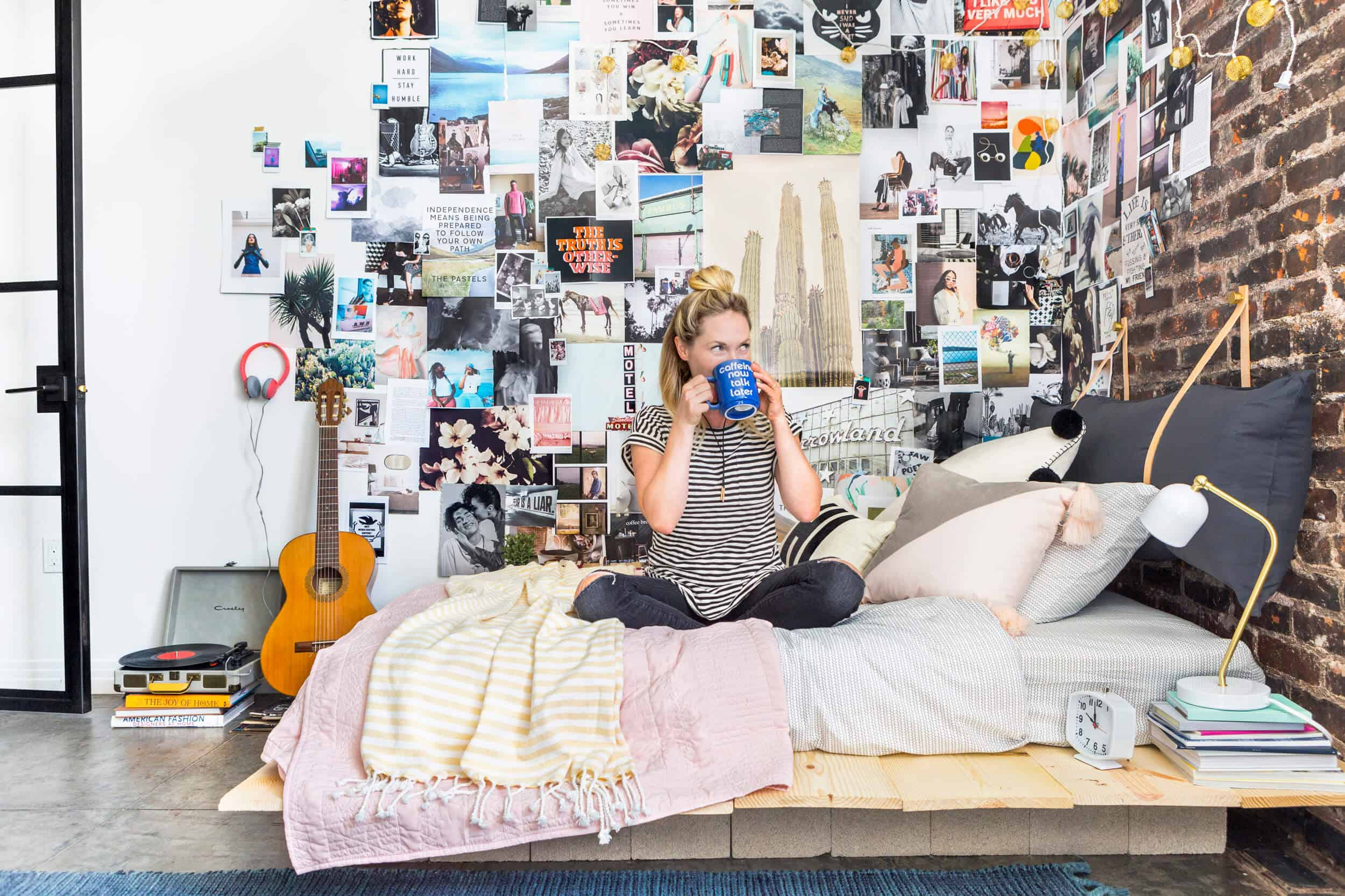 Emily Henderson Target Dorm Room Back To School Boho Eclectic Collage Wall Rocker Chic Musician Artistic Cinderblock Bed Leather Strap Headboard Diy 2