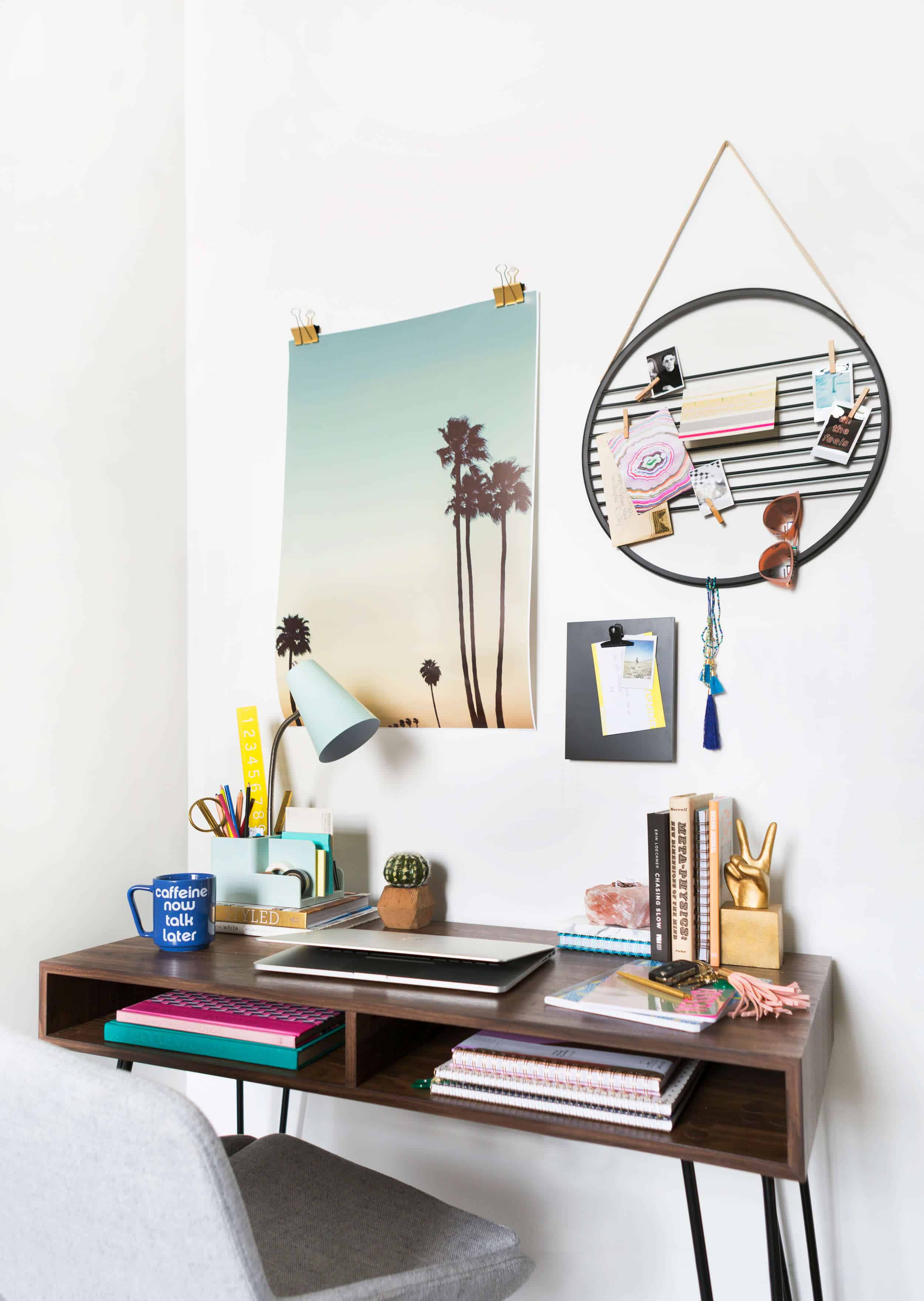 Emily Henderson Target Dorm Room Back To School Boho Eclectic Collage Wall Rocker Chic Musician Artistic Cinderblock Bed Leather Strap Headboard Diy 20