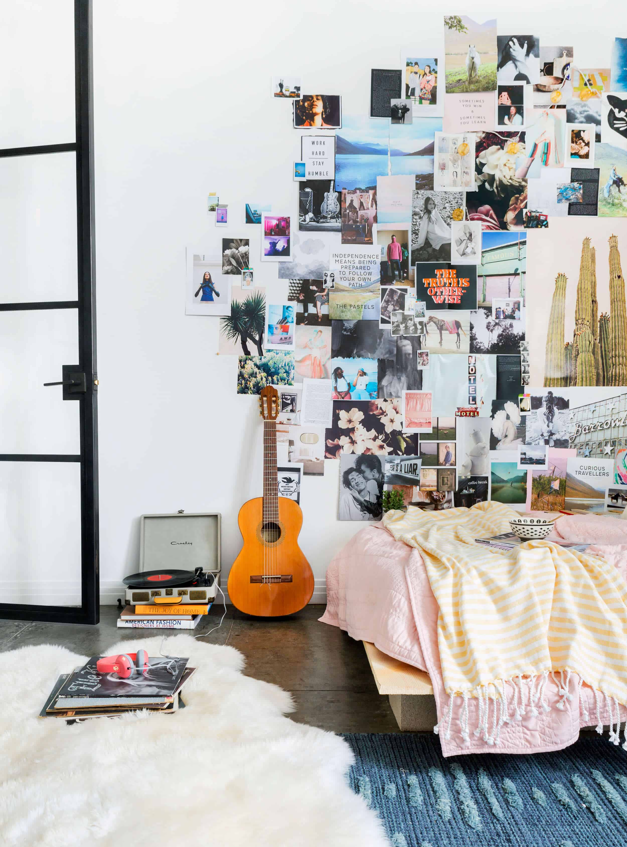 Emily Henderson Target Dorm Room Back To School Boho Eclectic Collage Wall Rocker Chic Musician Artistic Cinderblock Bed Leather Strap Headboard Diy 22