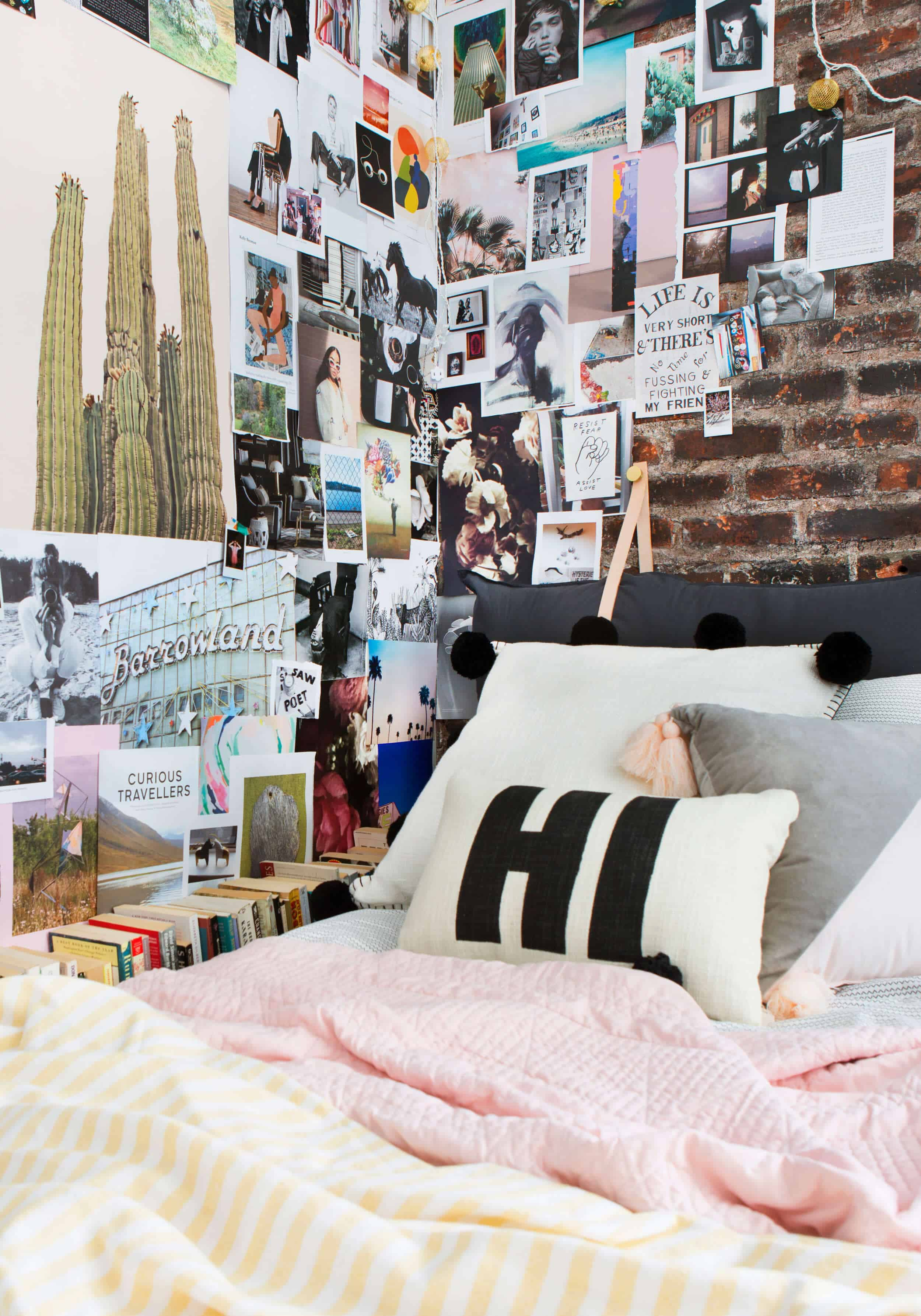 Emily Henderson Target Dorm Room Back To School Boho Eclectic Collage Wall Rocker Chic Musician Artistic Cinderblock Bed Leather Strap Headboard Diy 28