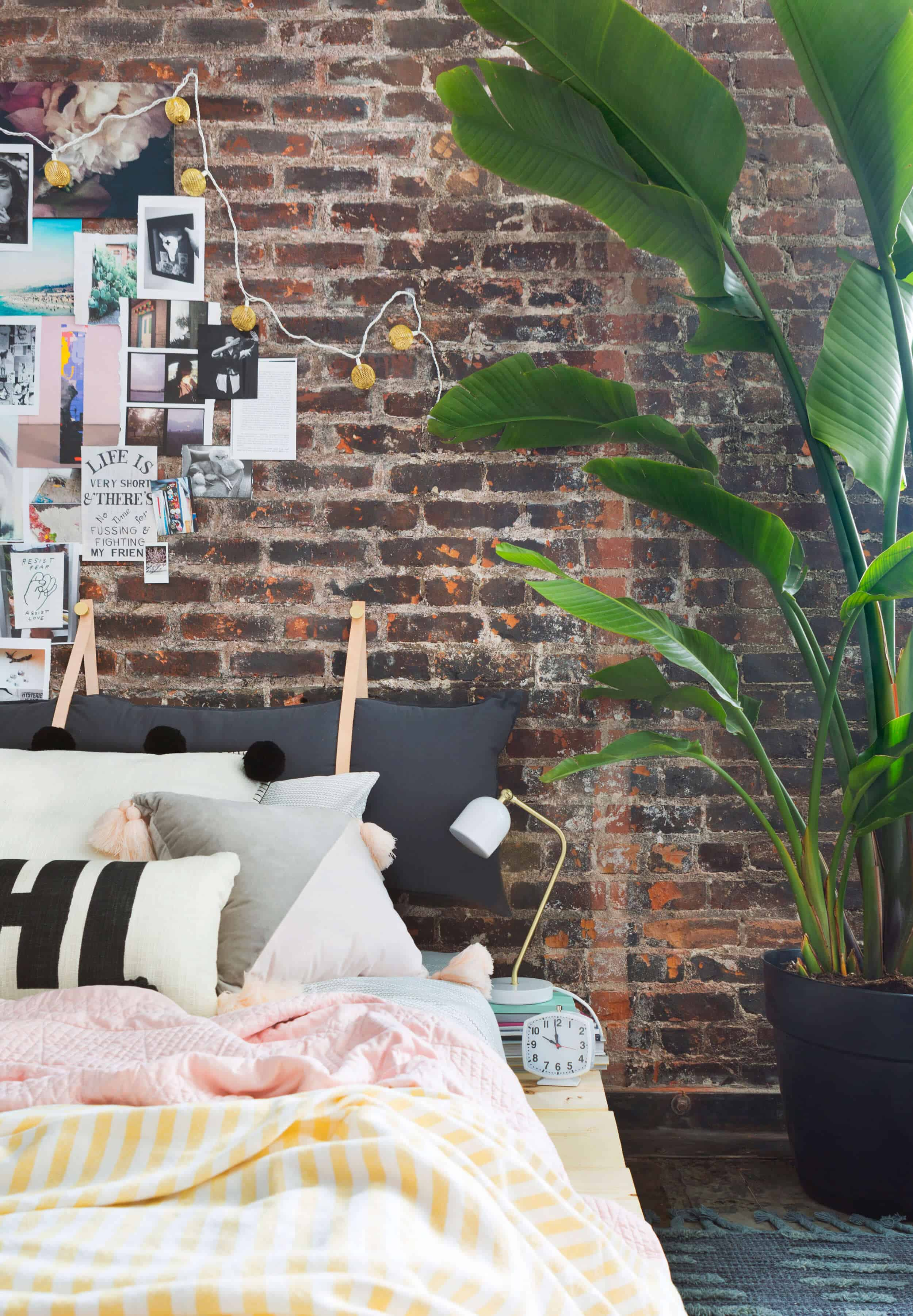 Emily Henderson Target Dorm Room Back To School Boho Eclectic Collage Wall Rocker Chic Musician Artistic Cinderblock Bed Leather Strap Headboard Diy 29